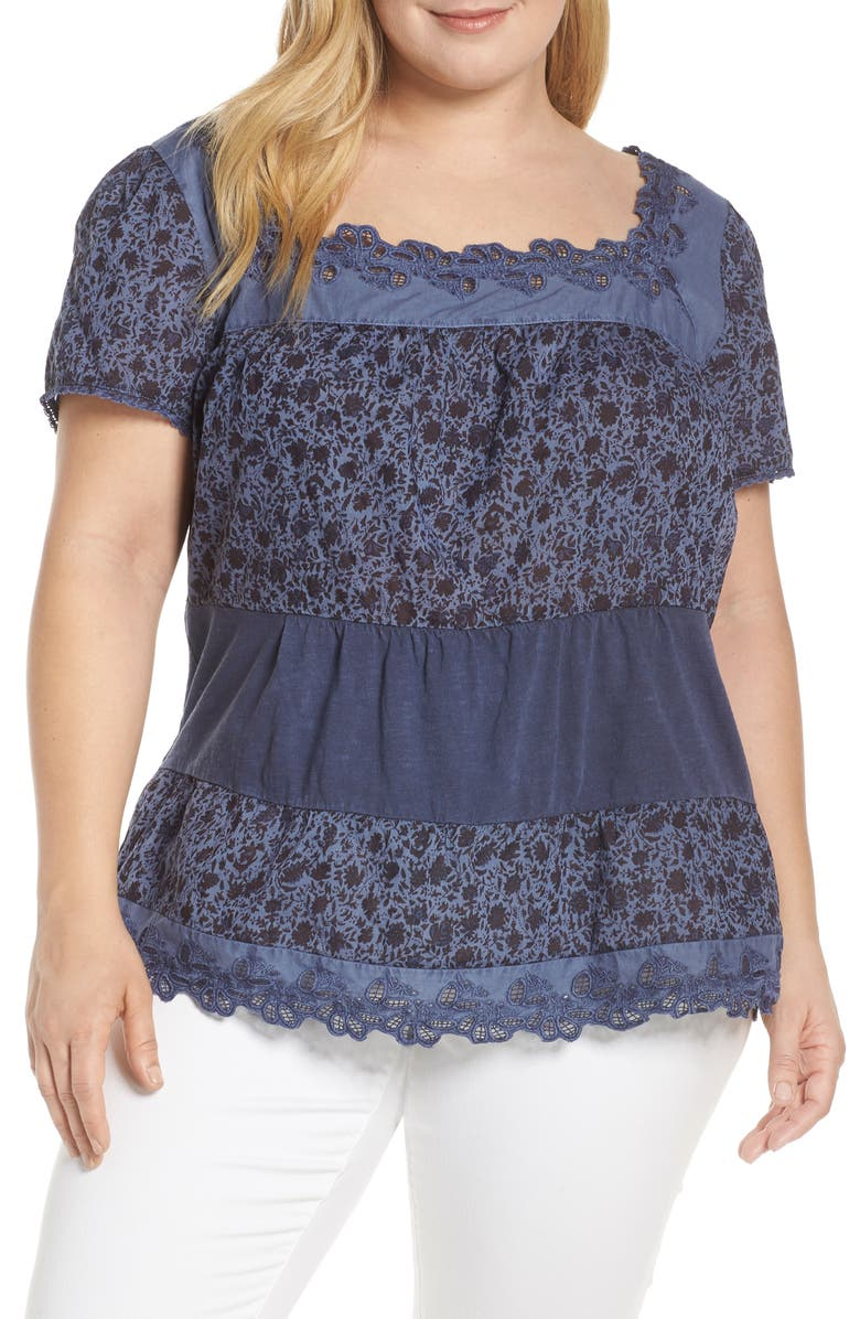 Lucky Brand Tops LACE TIERED TOP