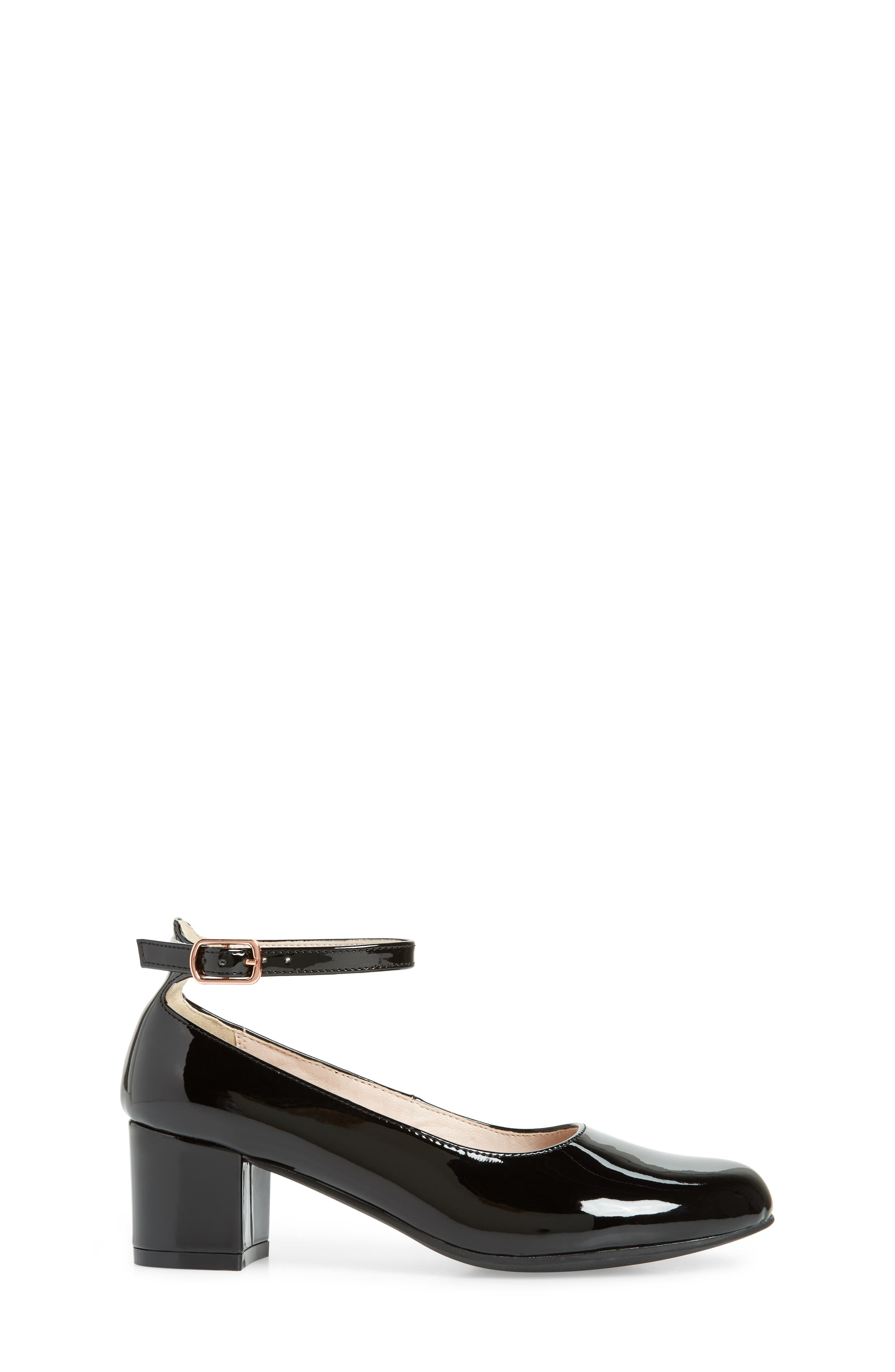 RUBY & BLOOM, Jessica Ankle Strap Pump, Alternate thumbnail 3, color, BLACK PATENT FAUX LEATHER