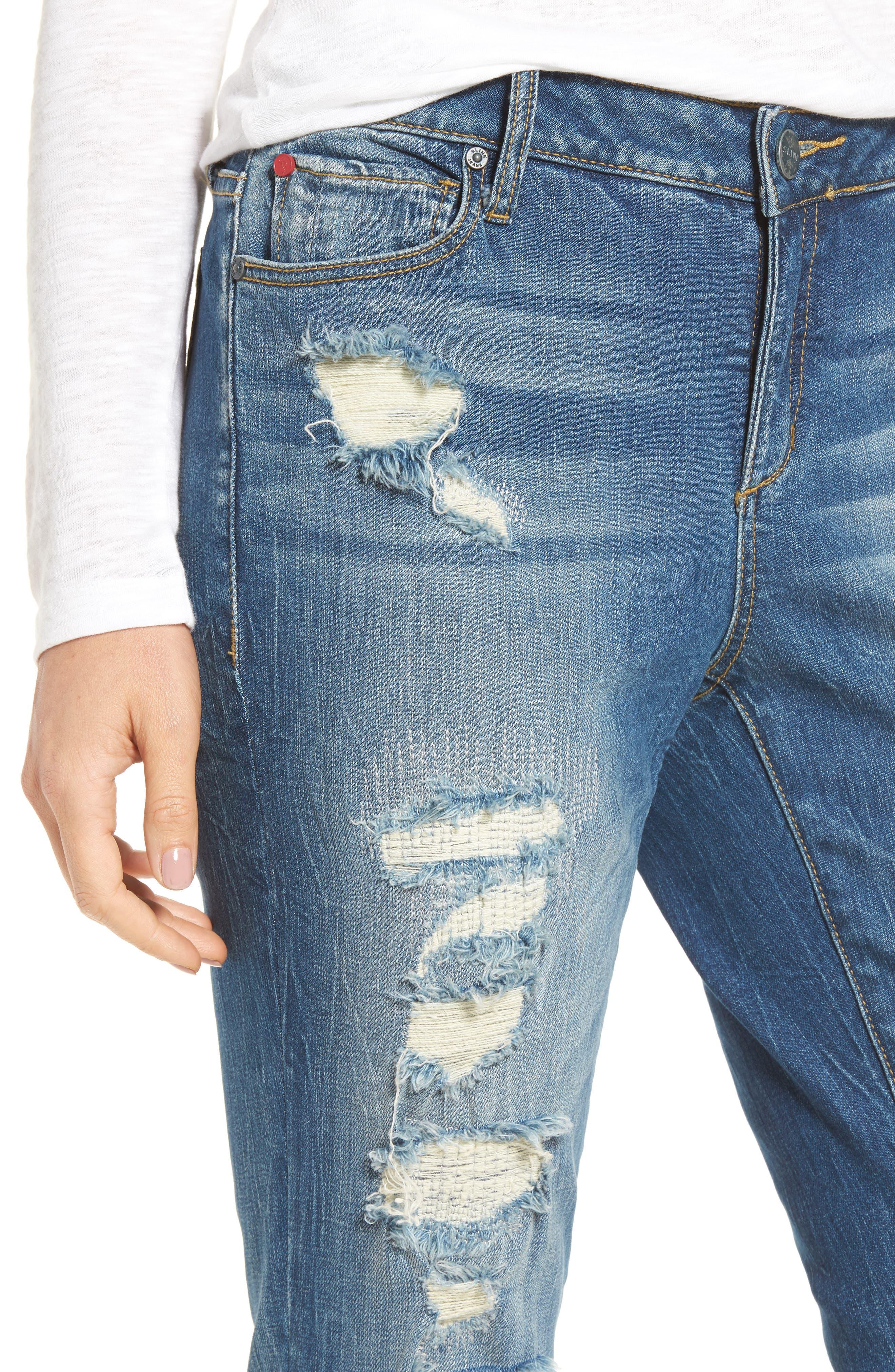 SLINK JEANS, Distressed Ankle Boyfriend Jeans, Alternate thumbnail 4, color, 456