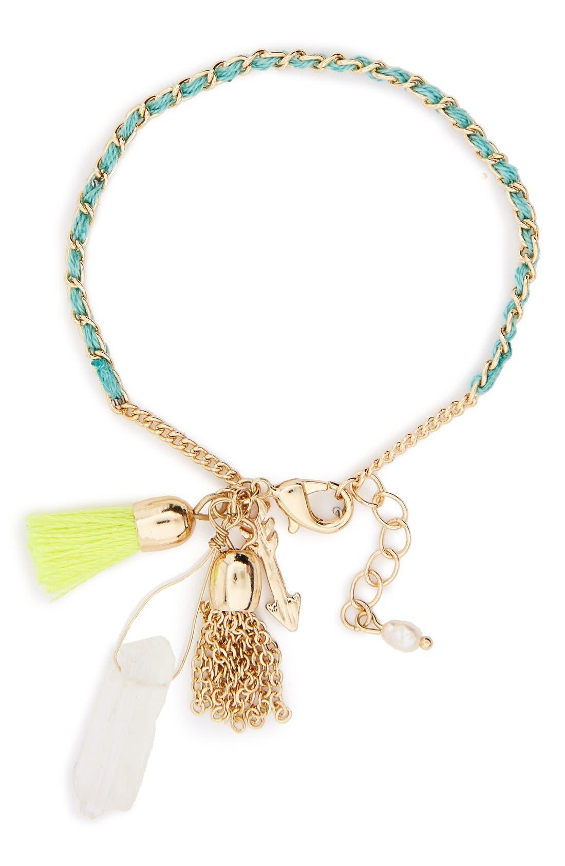 KITSCH, Tassel Charm Bracelet, Main thumbnail 1, color, 440