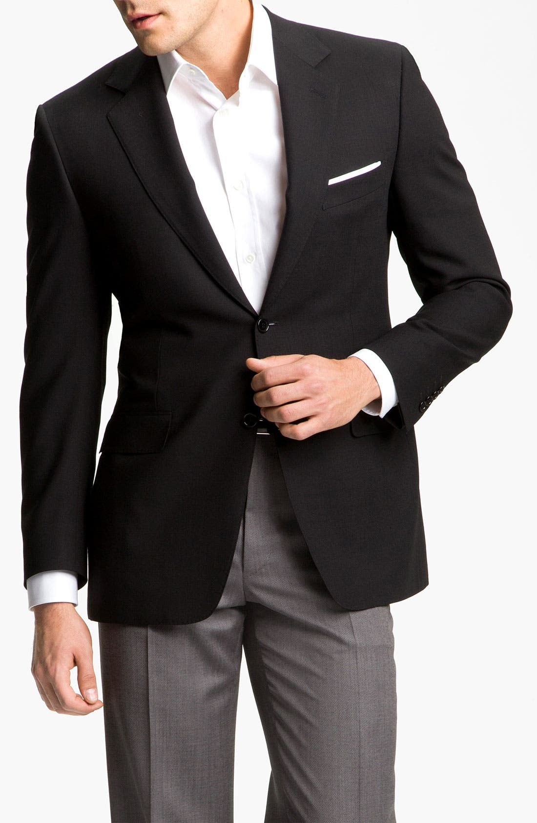CANALI, Classic Fit Solid Wool Blazer, Main thumbnail 1, color, BLACK
