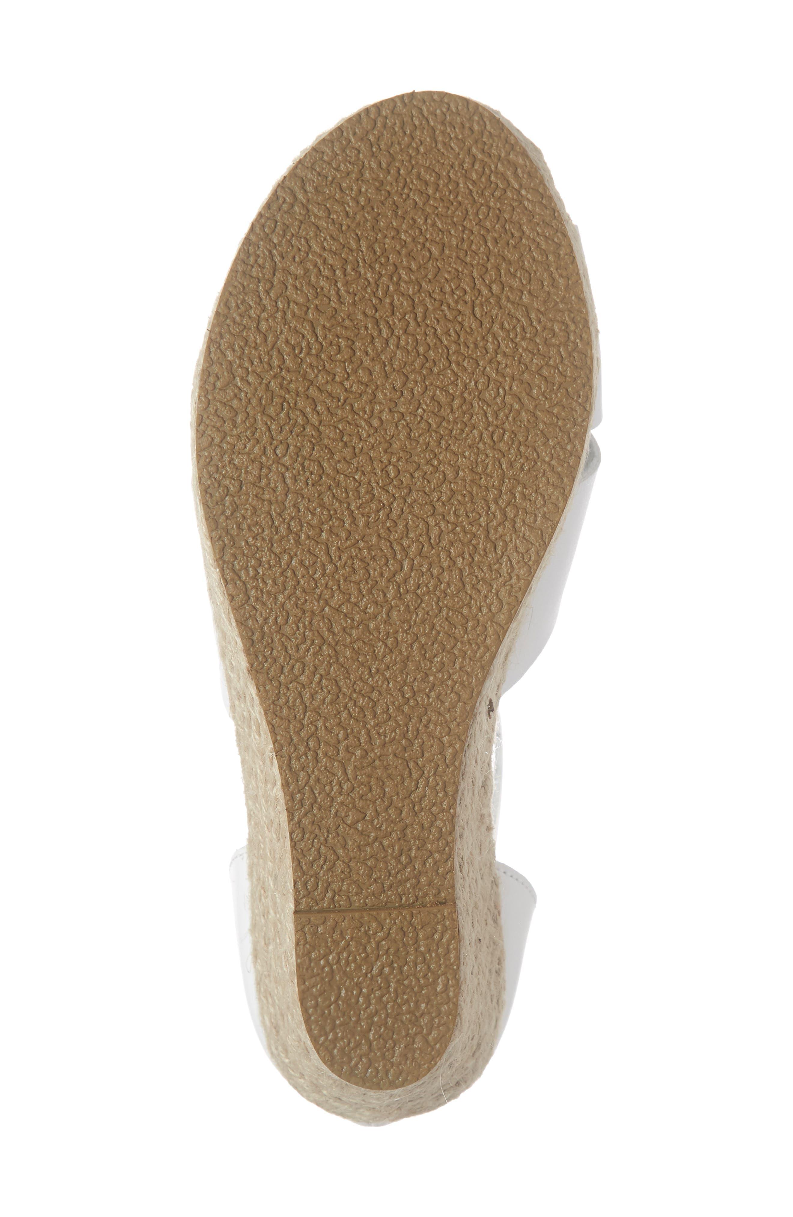 TREASURE & BOND, Espadrille Wedge Sandal, Alternate thumbnail 6, color, WHITE FAUX LEATHER