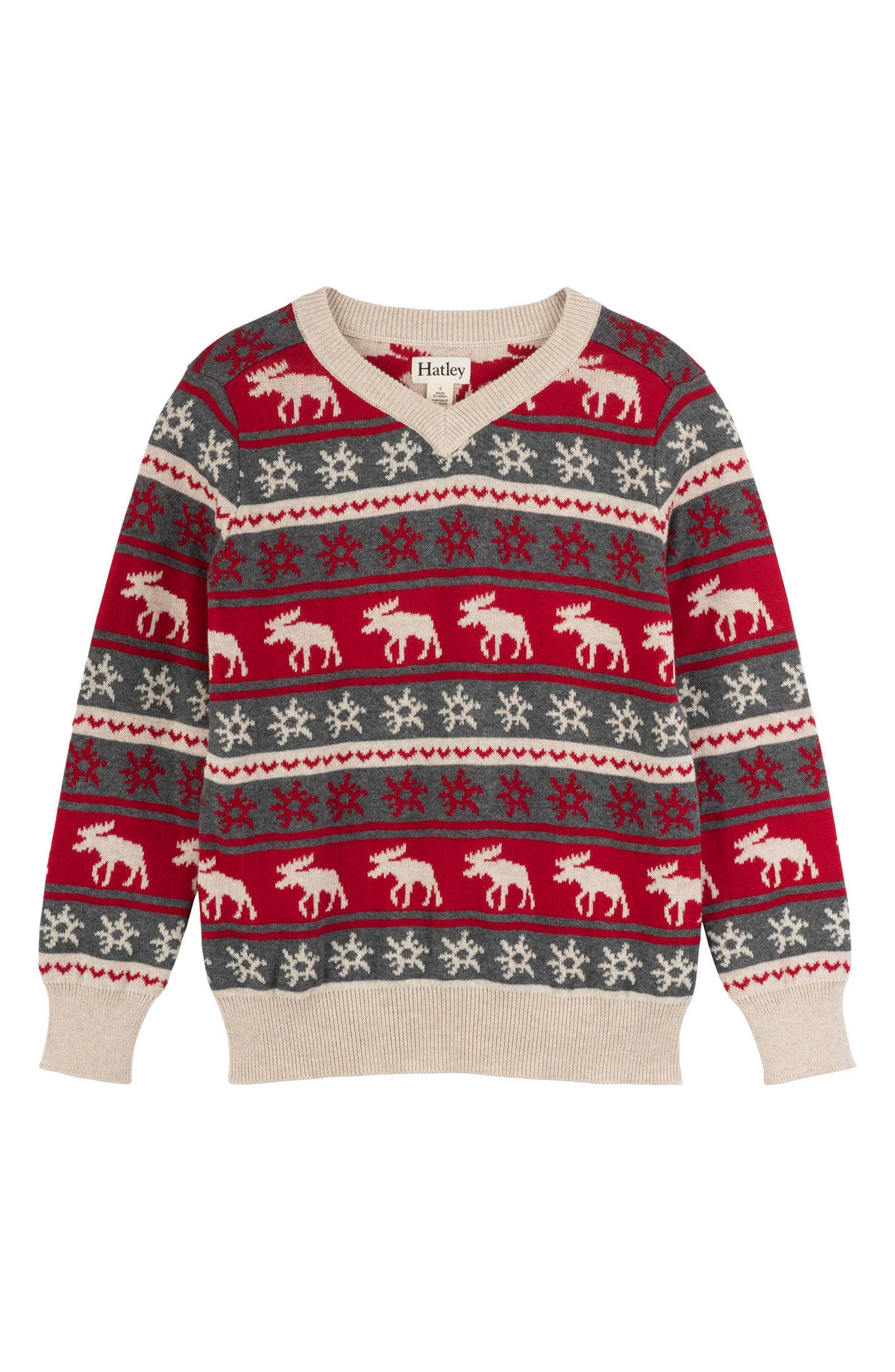 HATLEY, Fair Isle Moose Sweater, Main thumbnail 1, color, RED