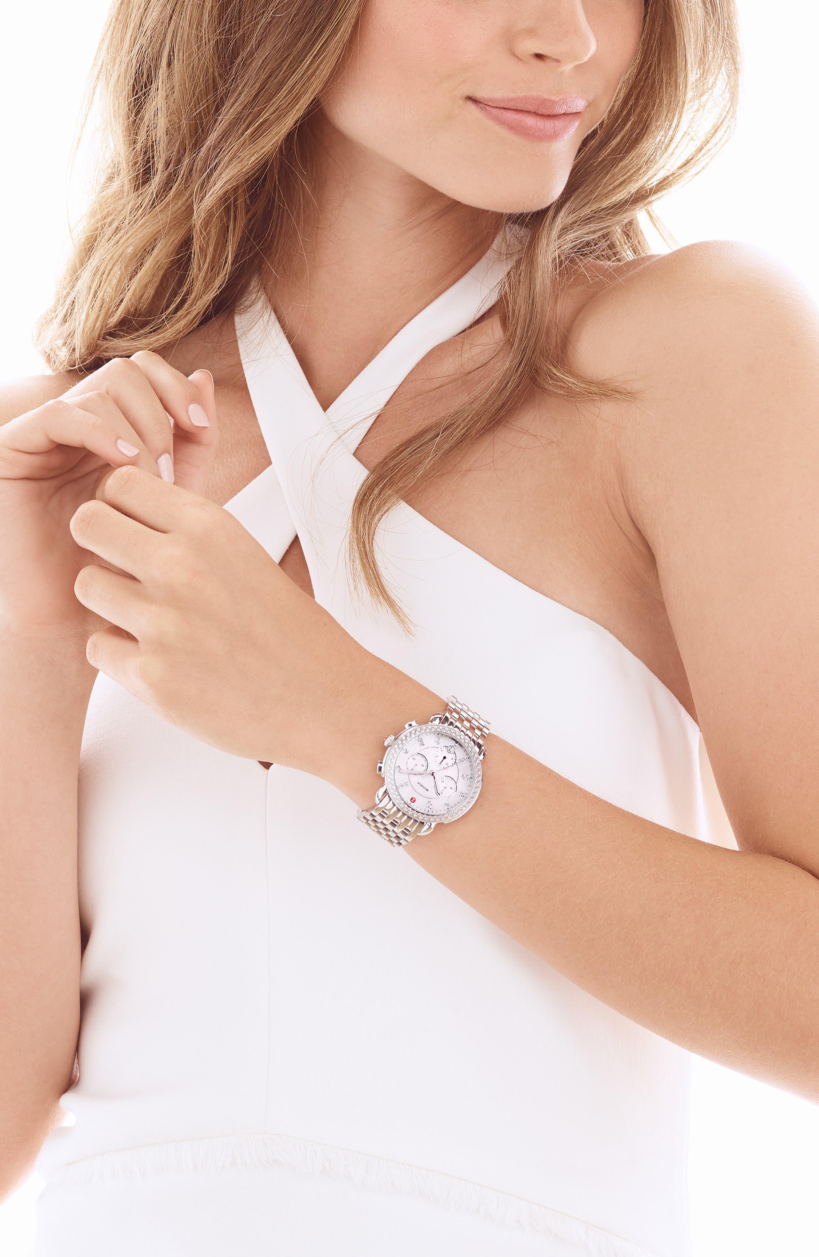 MICHELE, Sidney Chrono Diamond Diamond Dial Watch Case, 38mm, Alternate thumbnail 2, color, SILVER/ MOP