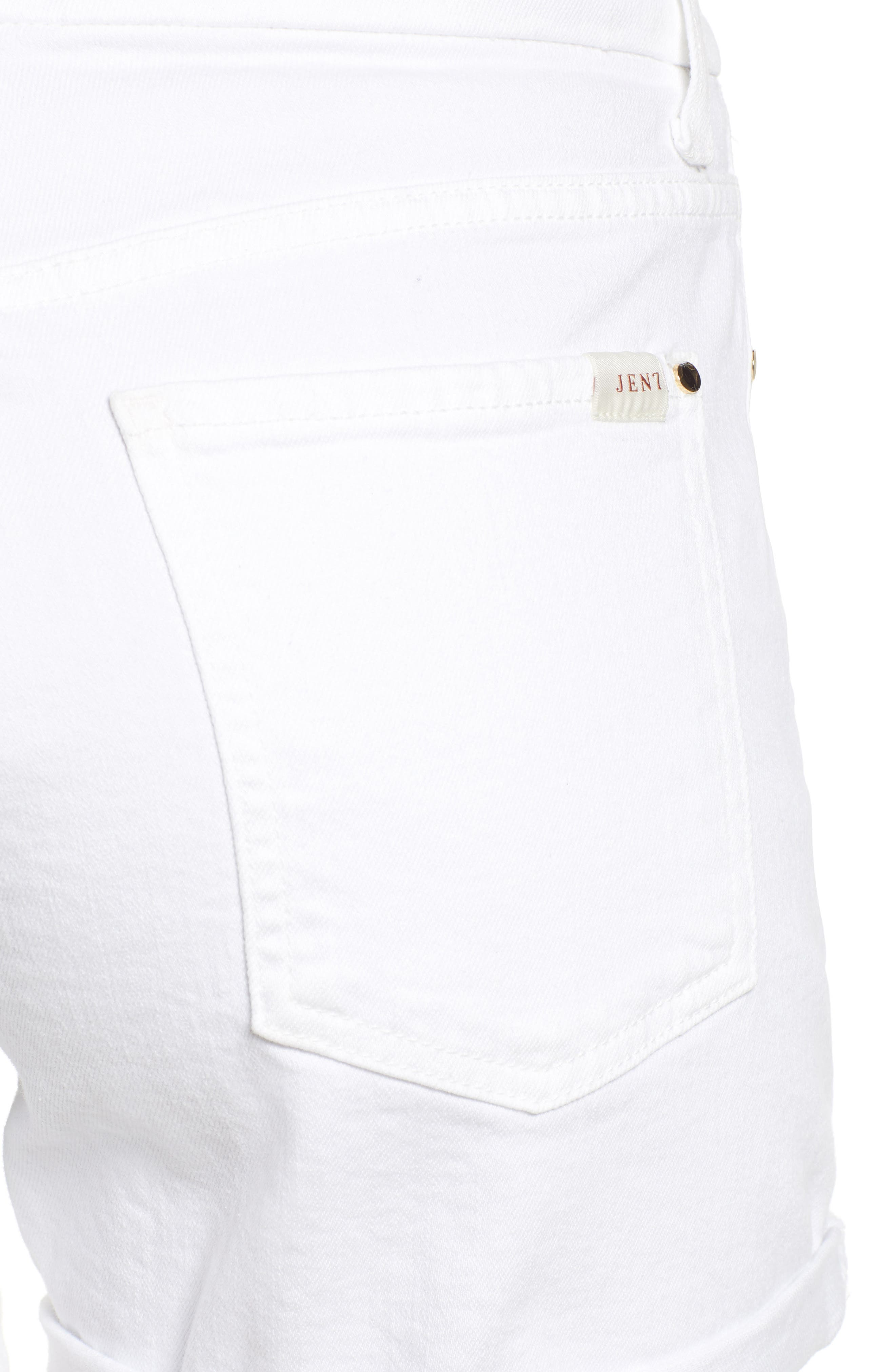 JEN7 BY 7 FOR ALL MANKIND, Roll Cuff Denim Shorts, Alternate thumbnail 4, color, WHITE FASHION