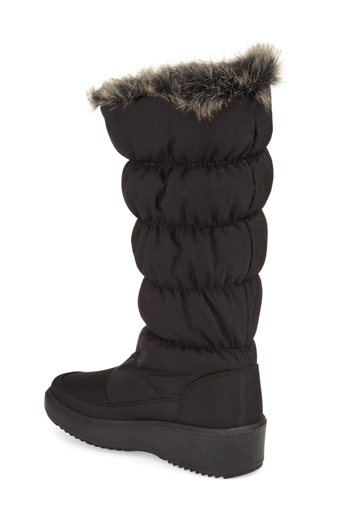 PAJAR, 'Alexandra' Waterproof Boot, Alternate thumbnail 7, color, BLACK FABRIC