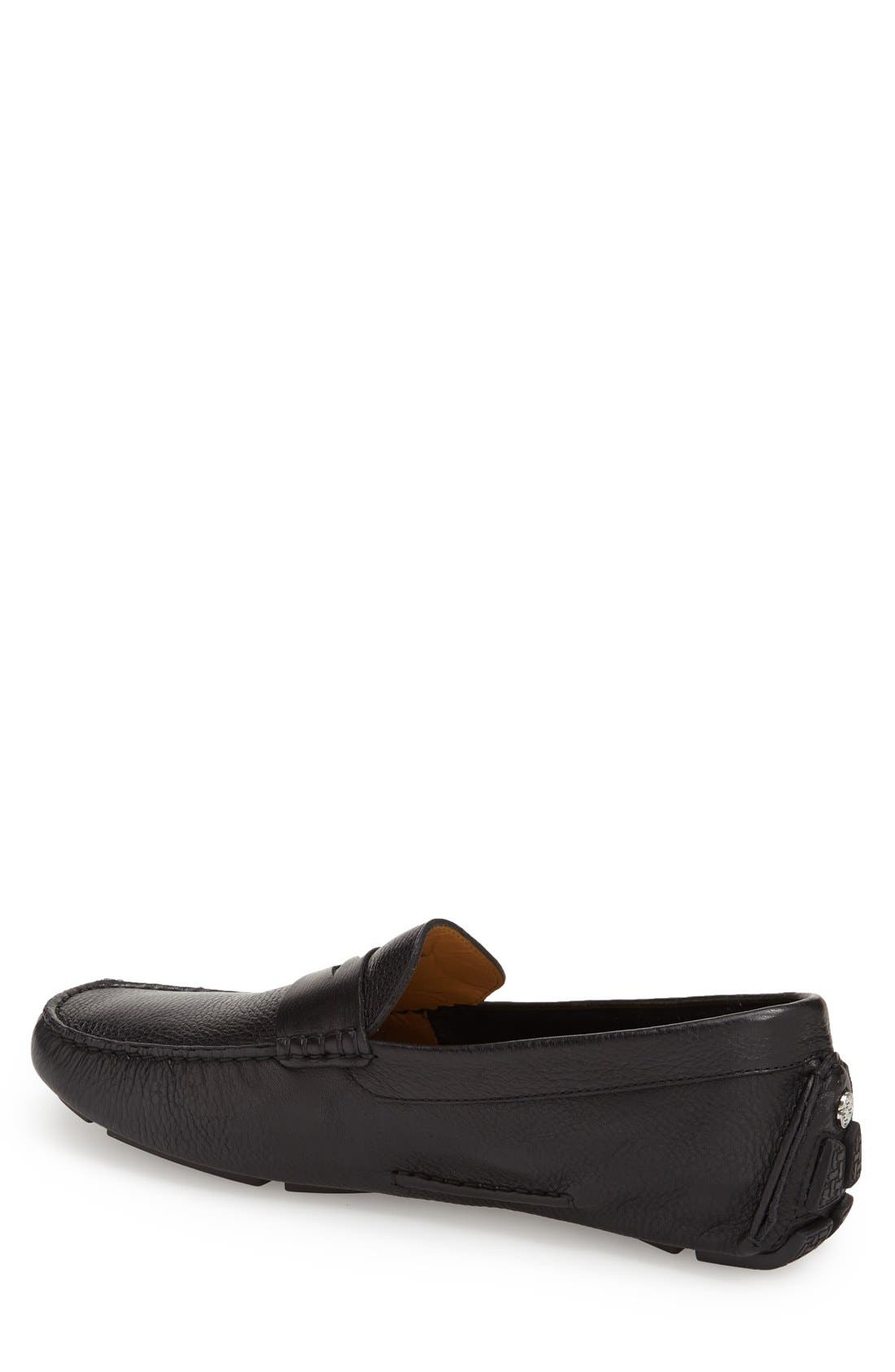 COLE HAAN, 'Howland' Penny Loafer, Alternate thumbnail 11, color, BLACK TUMBLED