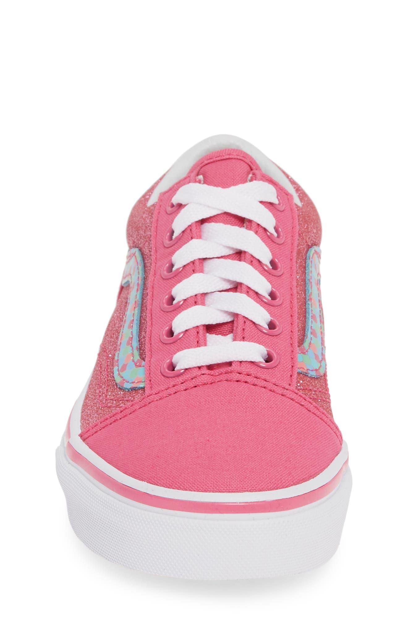 VANS, Old Skool Sneaker, Alternate thumbnail 4, color, CARMINE ROSE/ TRUE WHITE
