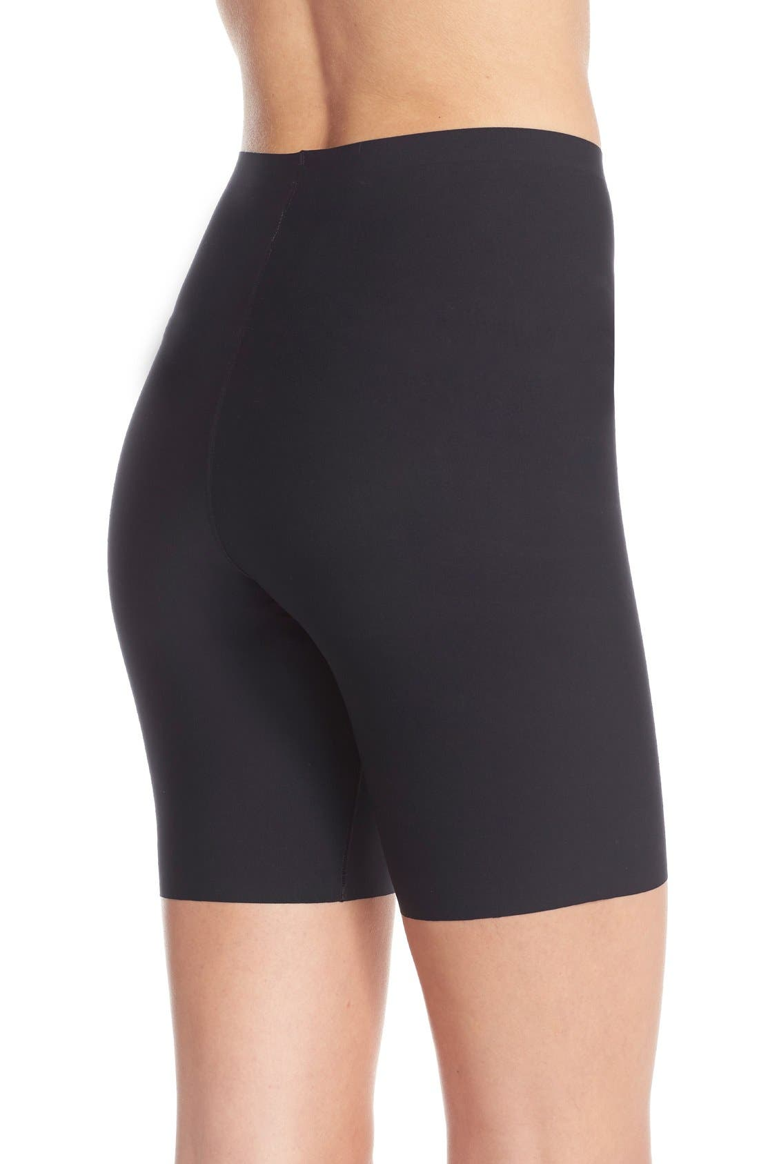 SPANX<SUP>®</SUP>, Thinstincts Mid Thigh Shorts, Alternate thumbnail 2, color, VERY BLACK