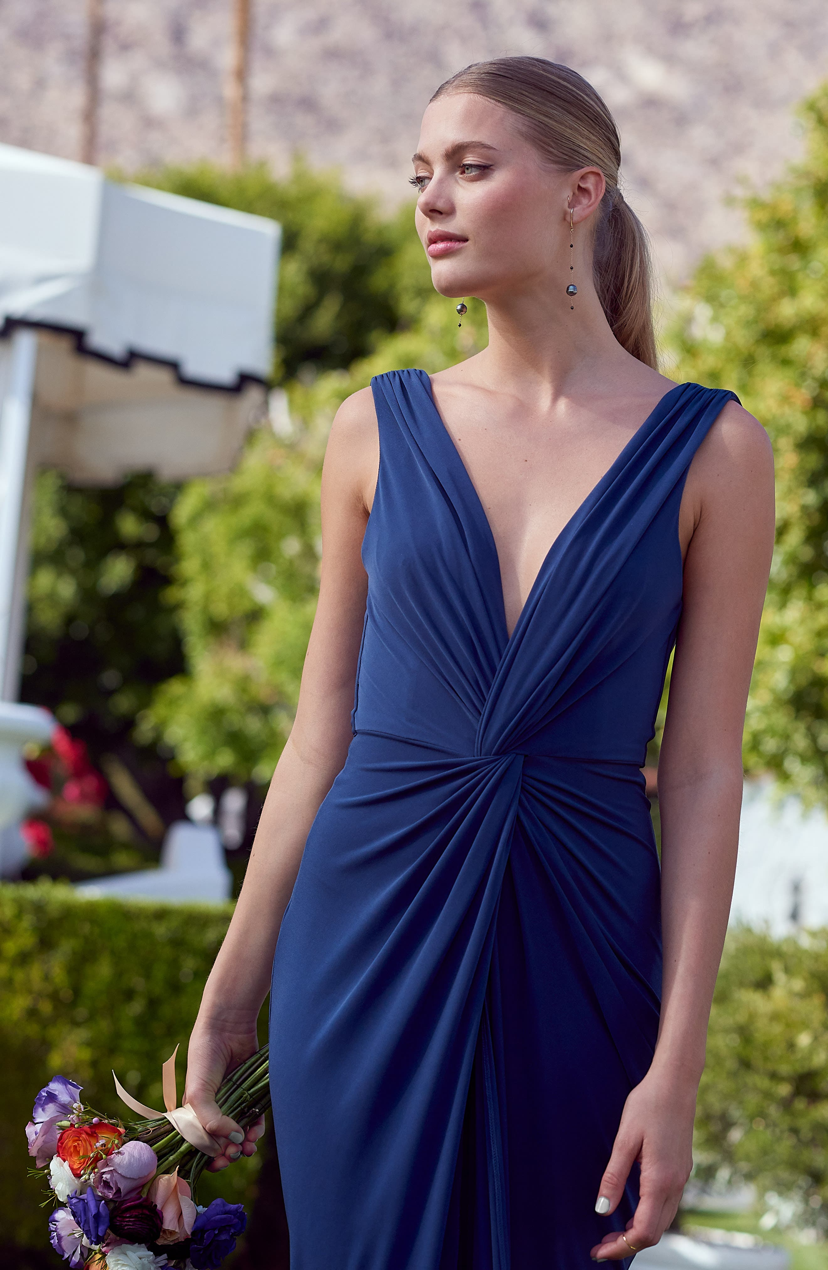 KATIE MAY, Leo Twist Front Evening Dress, Alternate thumbnail 11, color, DEEP SEA
