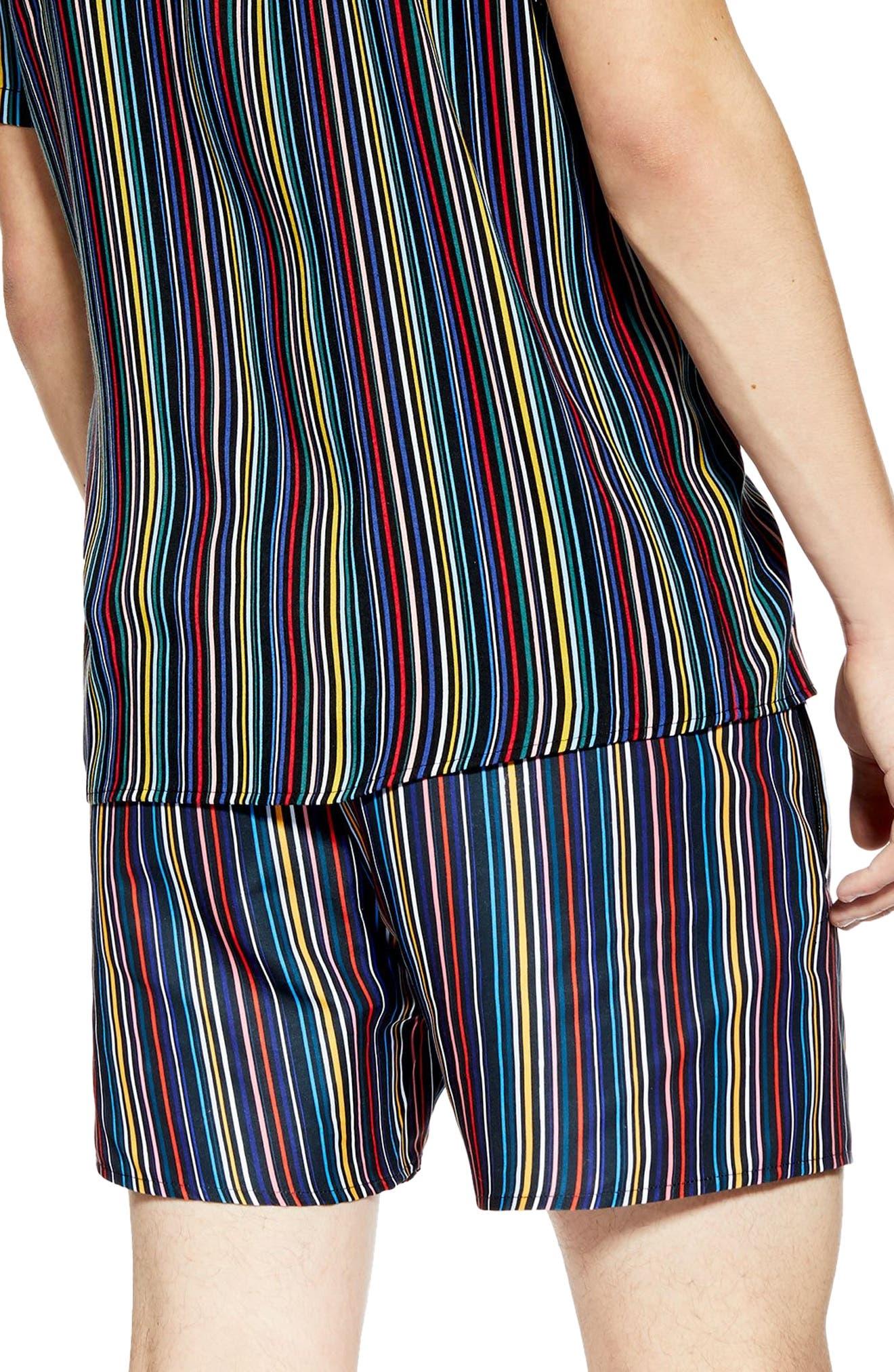 TOPMAN, Pinstripe Swim Shorts, Alternate thumbnail 2, color, BLACK MULTI