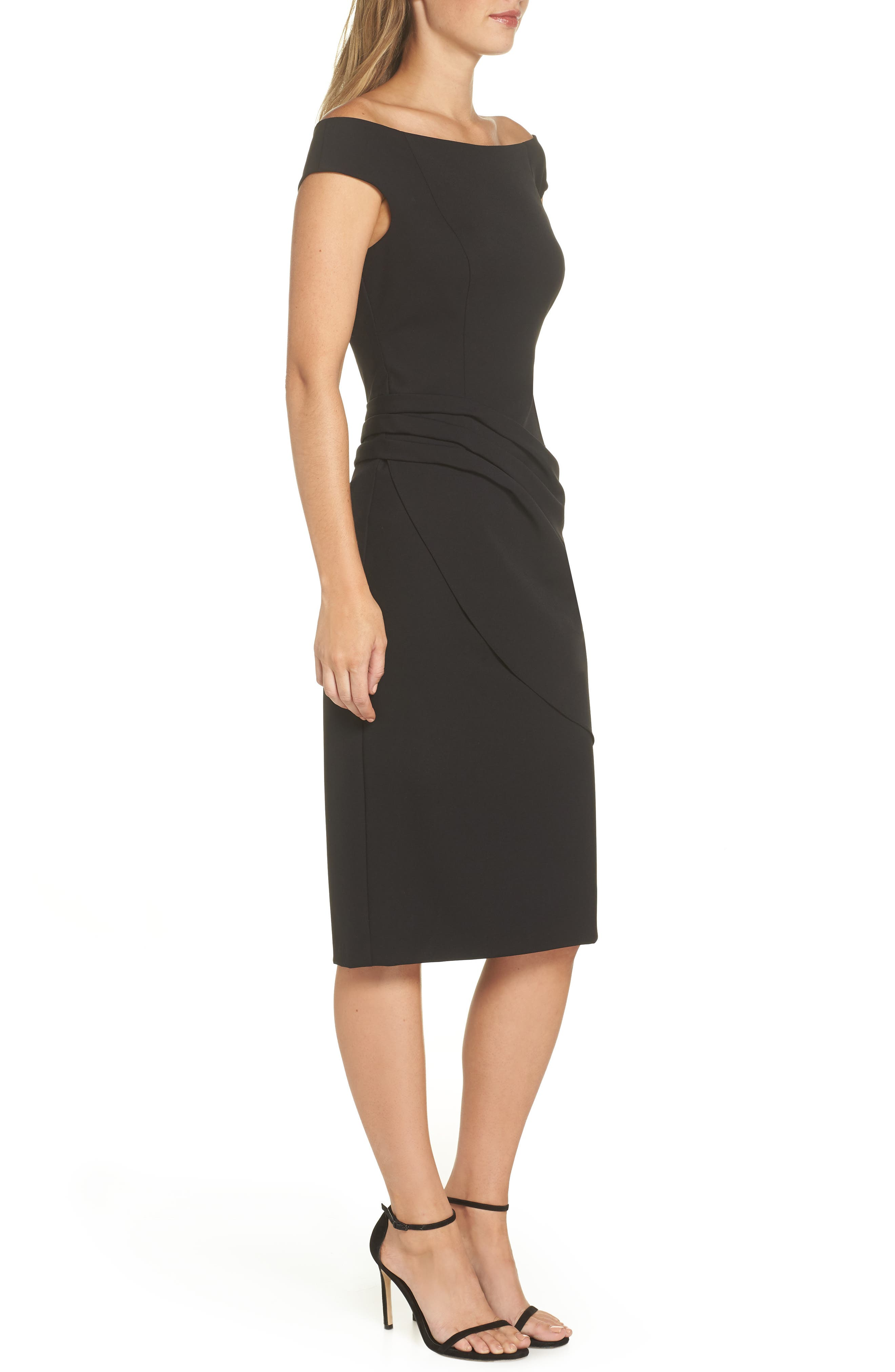 ELIZA J, Off the Shoulder Sheath Dress, Alternate thumbnail 4, color, BLACK