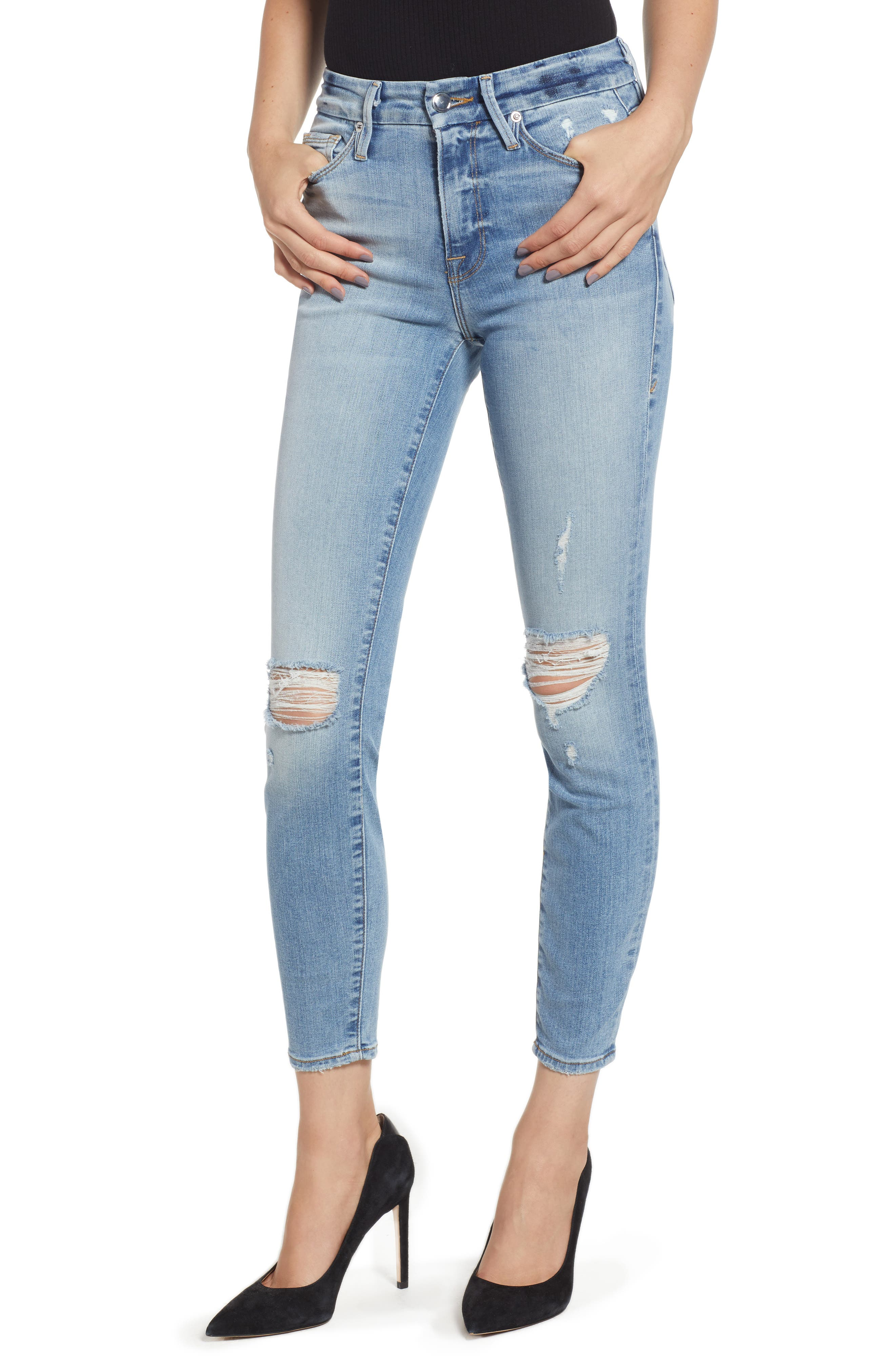 GOOD AMERICAN, Good Legs Ripped Crop Skinny Jeans, Main thumbnail 1, color, BLUE 199