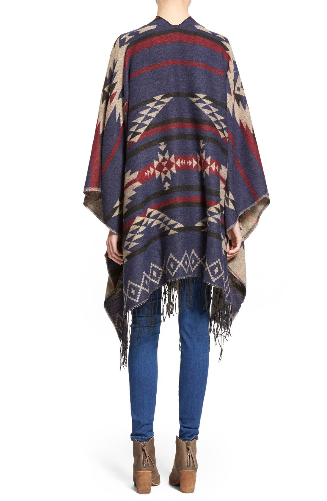 BP., Reversible Geometric Pattern Poncho, Alternate thumbnail 5, color, 900