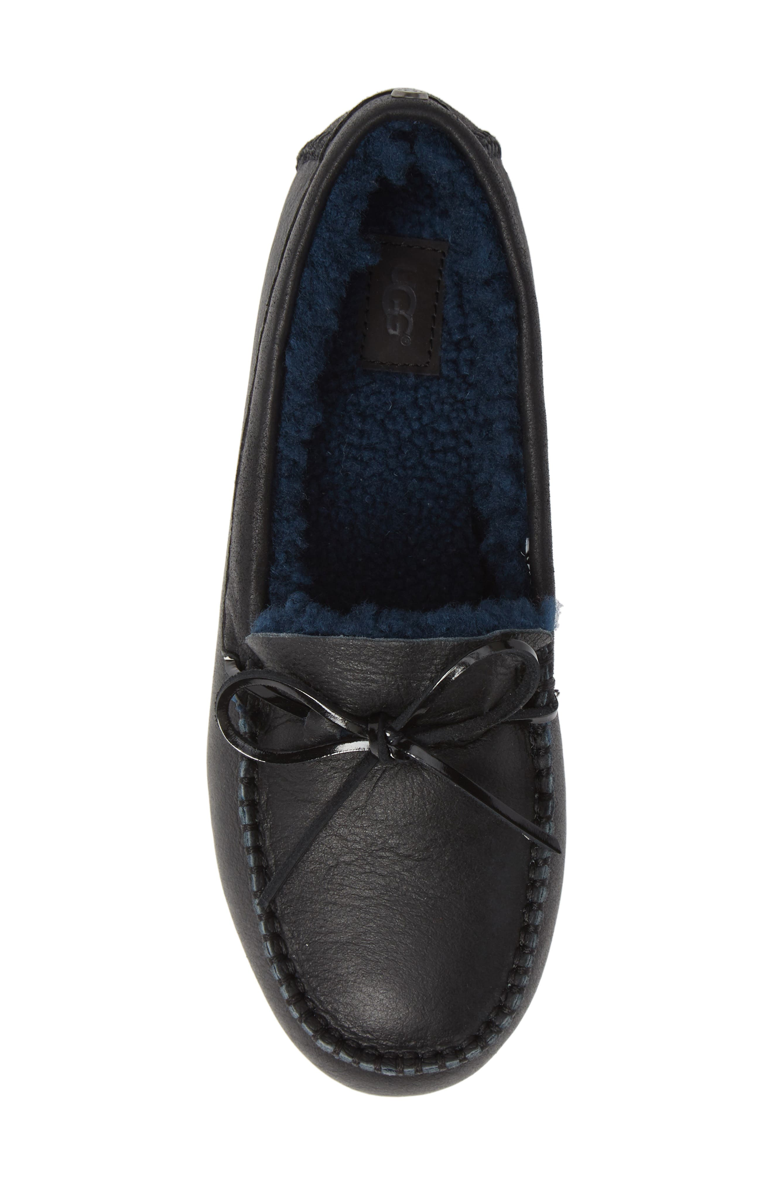 UGG<SUP>®</SUP>, Deluxe Loafer, Alternate thumbnail 5, color, BLACK LEATHER