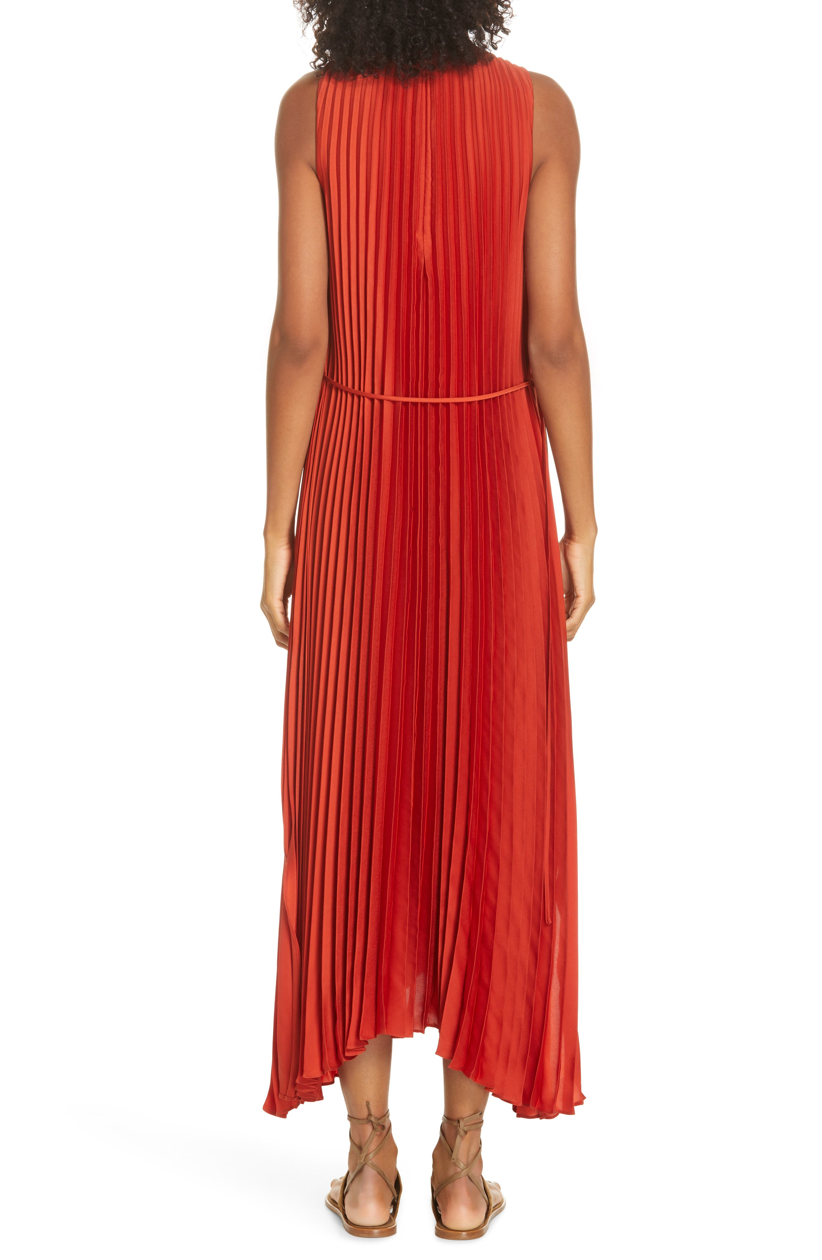 VINCE, Smocked Maxi Dress, Alternate thumbnail 2, color, ADOBE RED