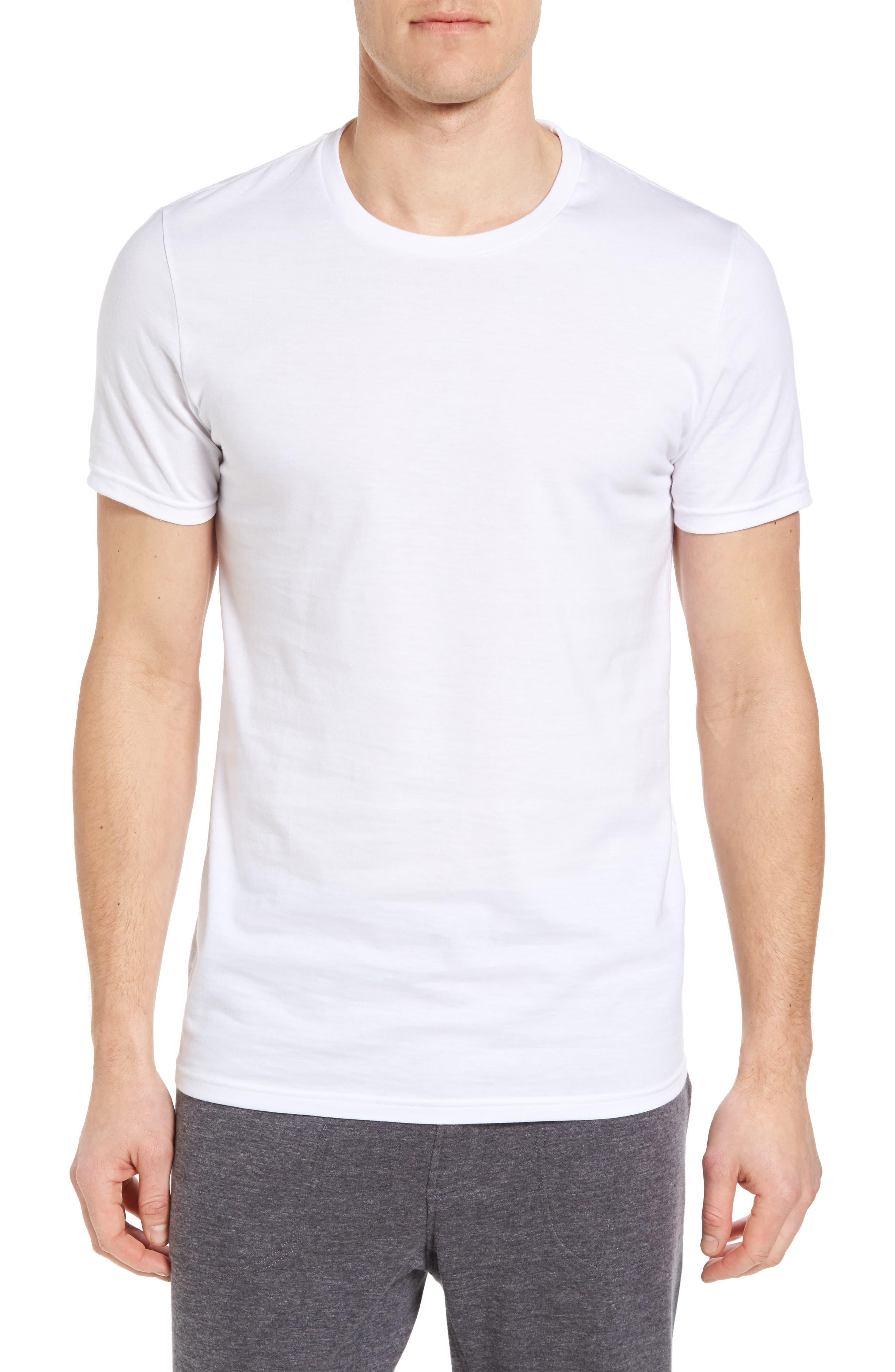 NORDSTROM MEN'S SHOP, 4-Pack Trim Fit Supima<sup>®</sup> Cotton Crewneck T-Shirt, Alternate thumbnail 2, color, WHITE