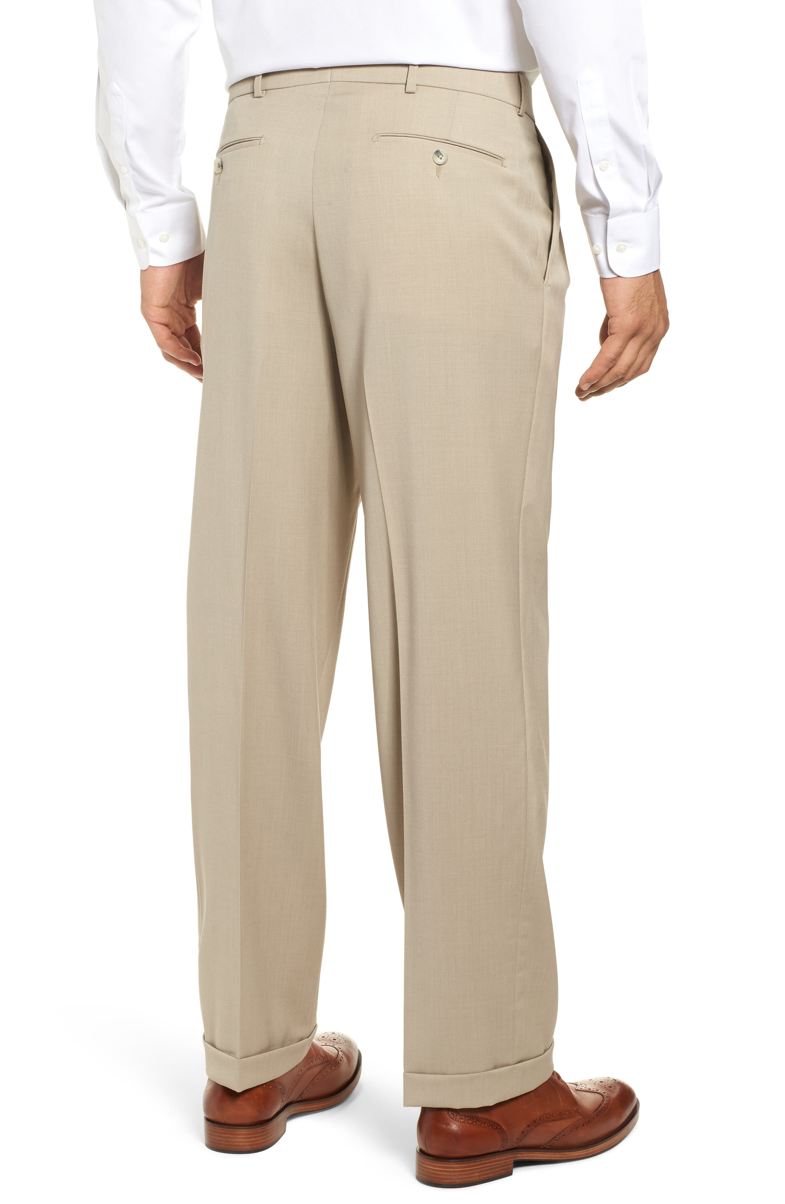 BALLIN, Pleated Solid Wool Trousers, Alternate thumbnail 2, color, OATMEAL