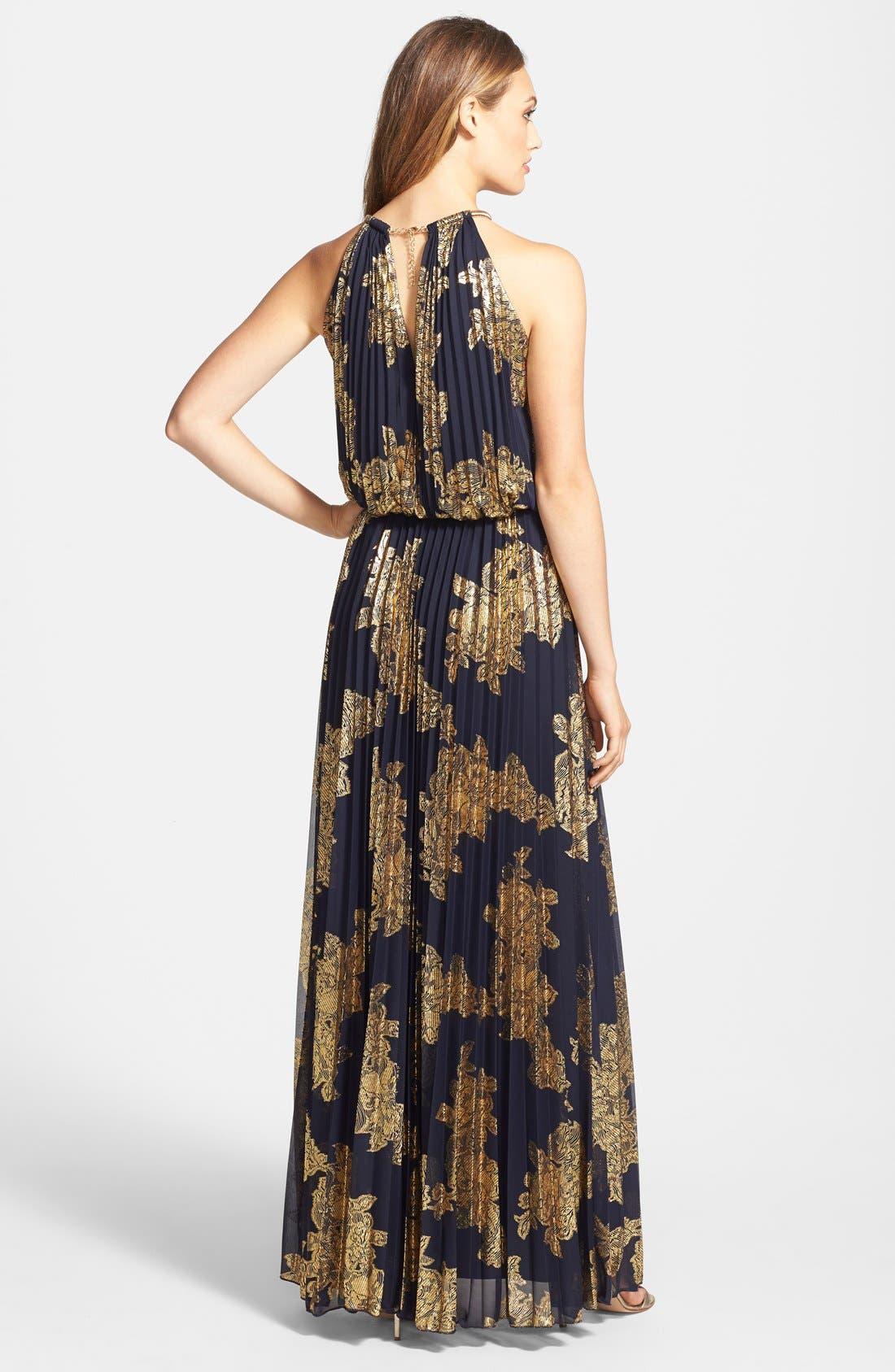 XSCAPE, Foiled Blouson Gown, Alternate thumbnail 2, color, 409