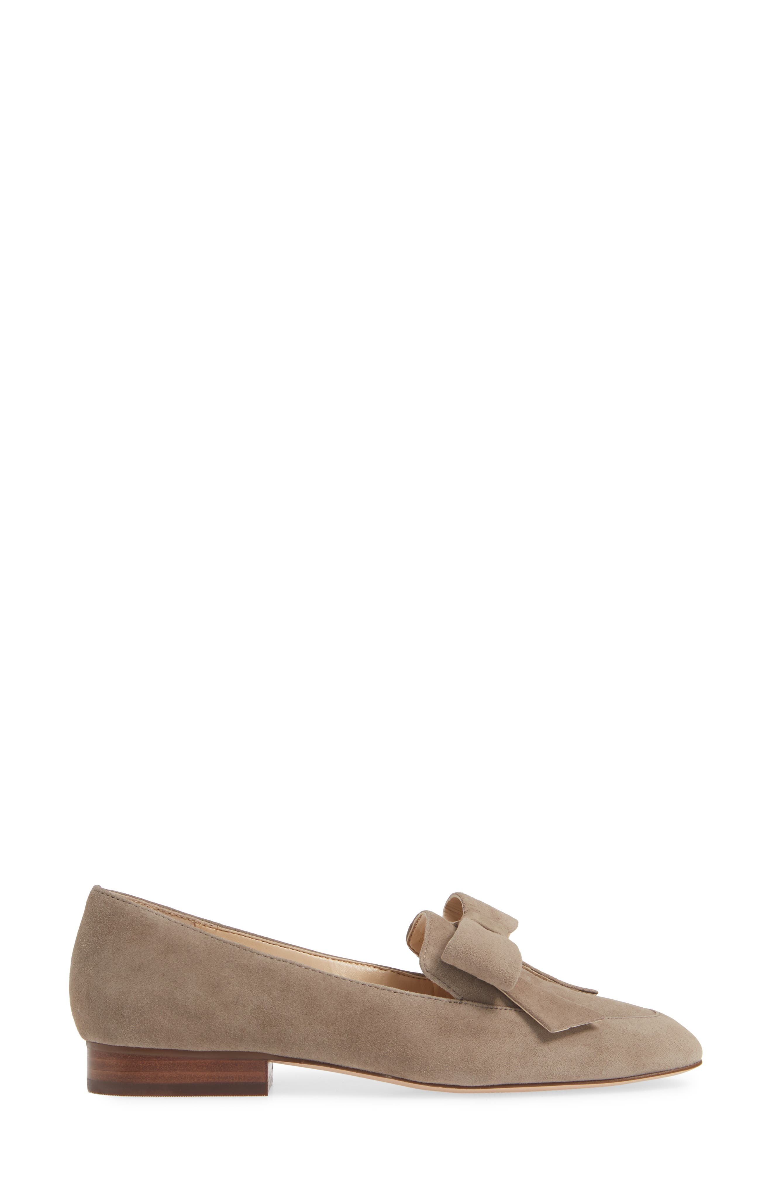 SOLE SOCIETY, Tannse Bow Loafer, Alternate thumbnail 3, color, MUSHROOM SUEDE