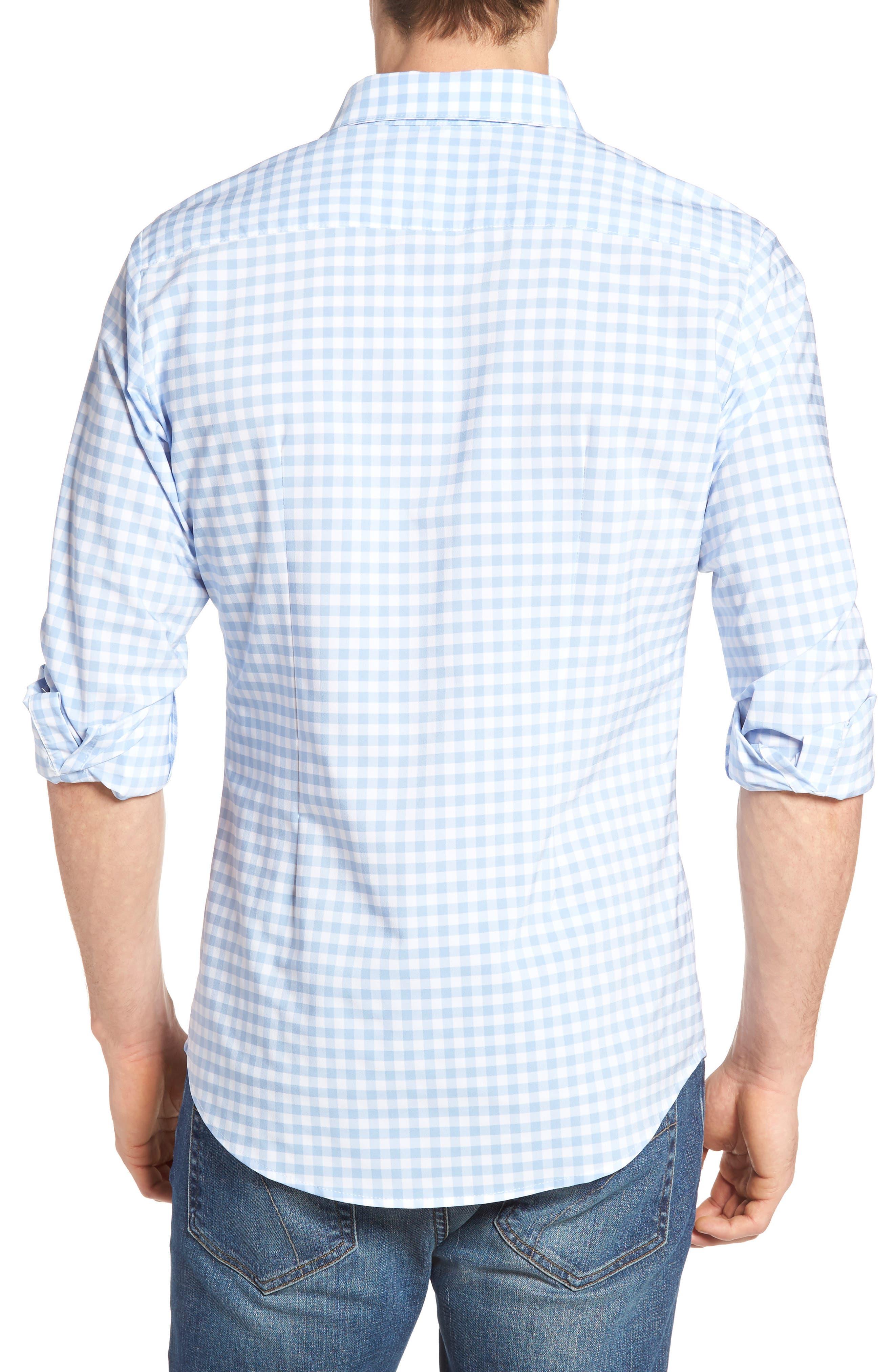 MIZZEN+MAIN, Hampton Trim Fit Gingham Performance Sport Shirt, Alternate thumbnail 2, color, BLUE