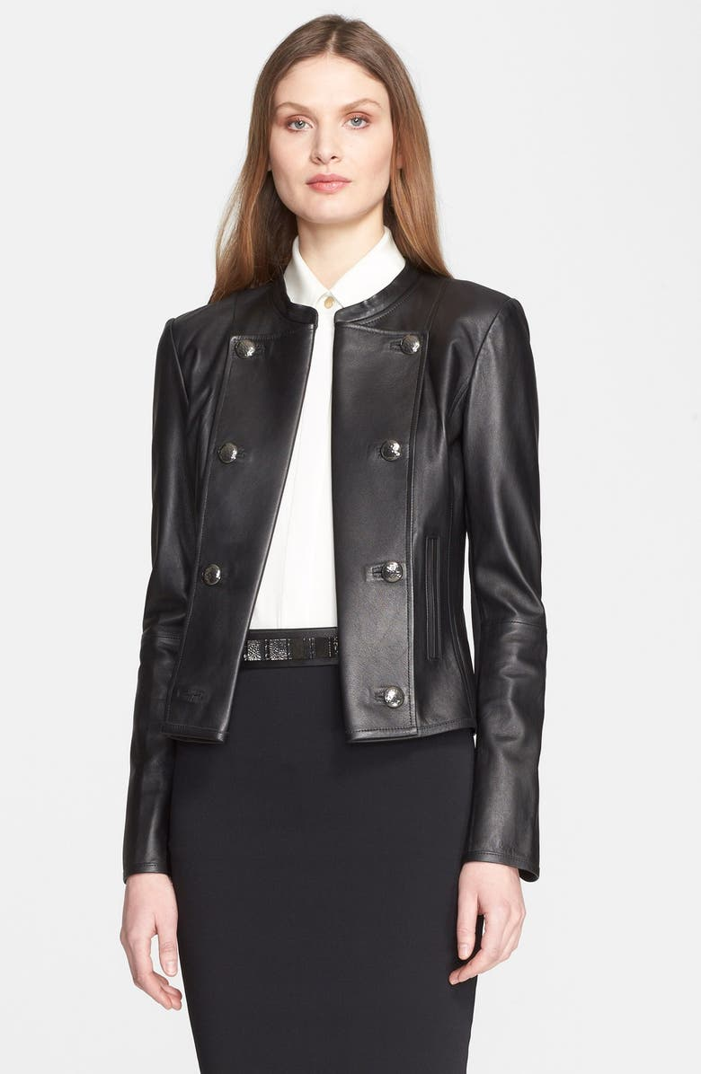 142d0386ac9 St. John Collection Nappa Leather & Milano Knit Crop Jacket | Nordstrom