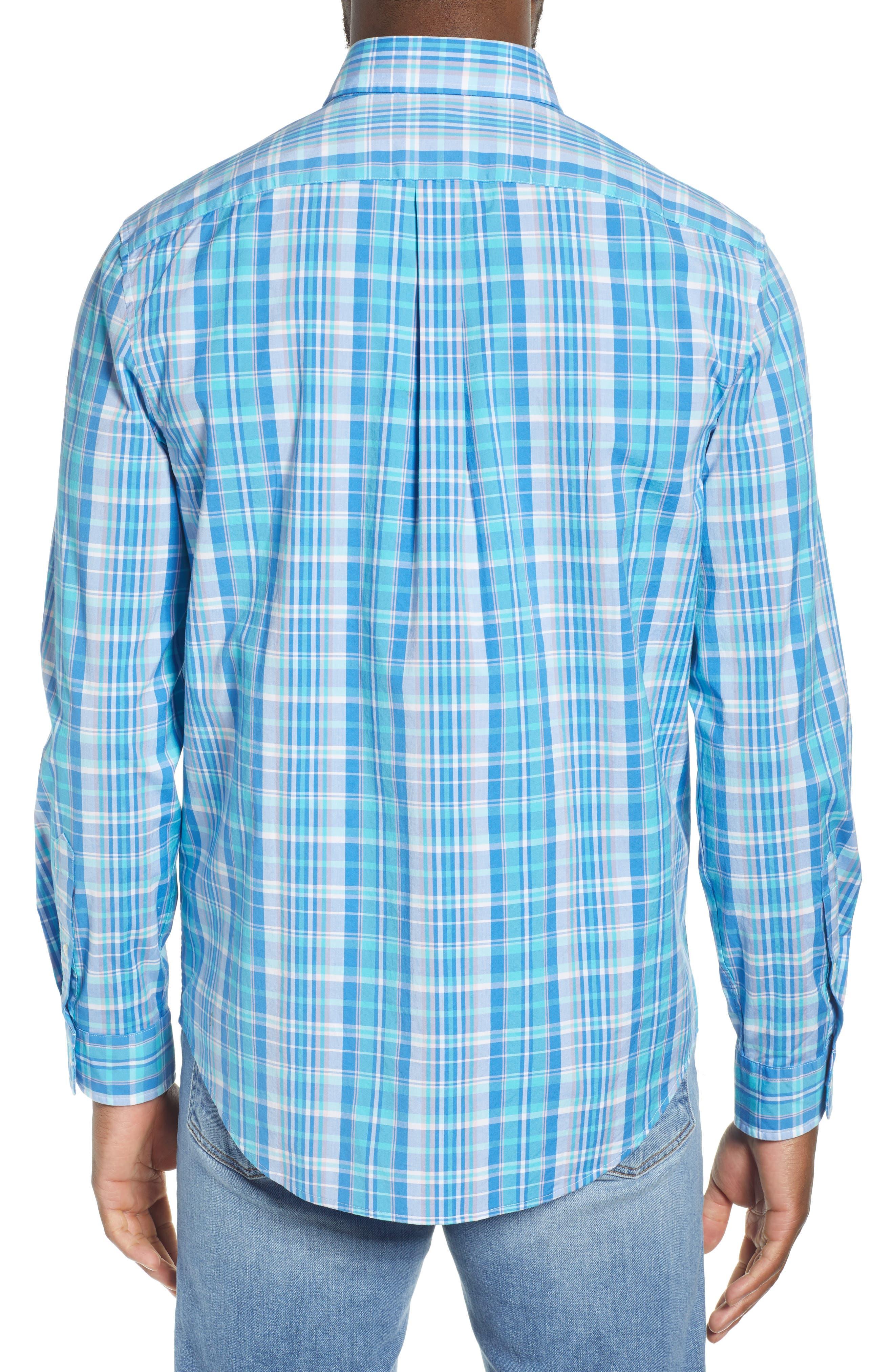 VINEYARD VINES, Tucker Regular Fit Plaid Sport Shirt, Alternate thumbnail 3, color, JAKE BLUE