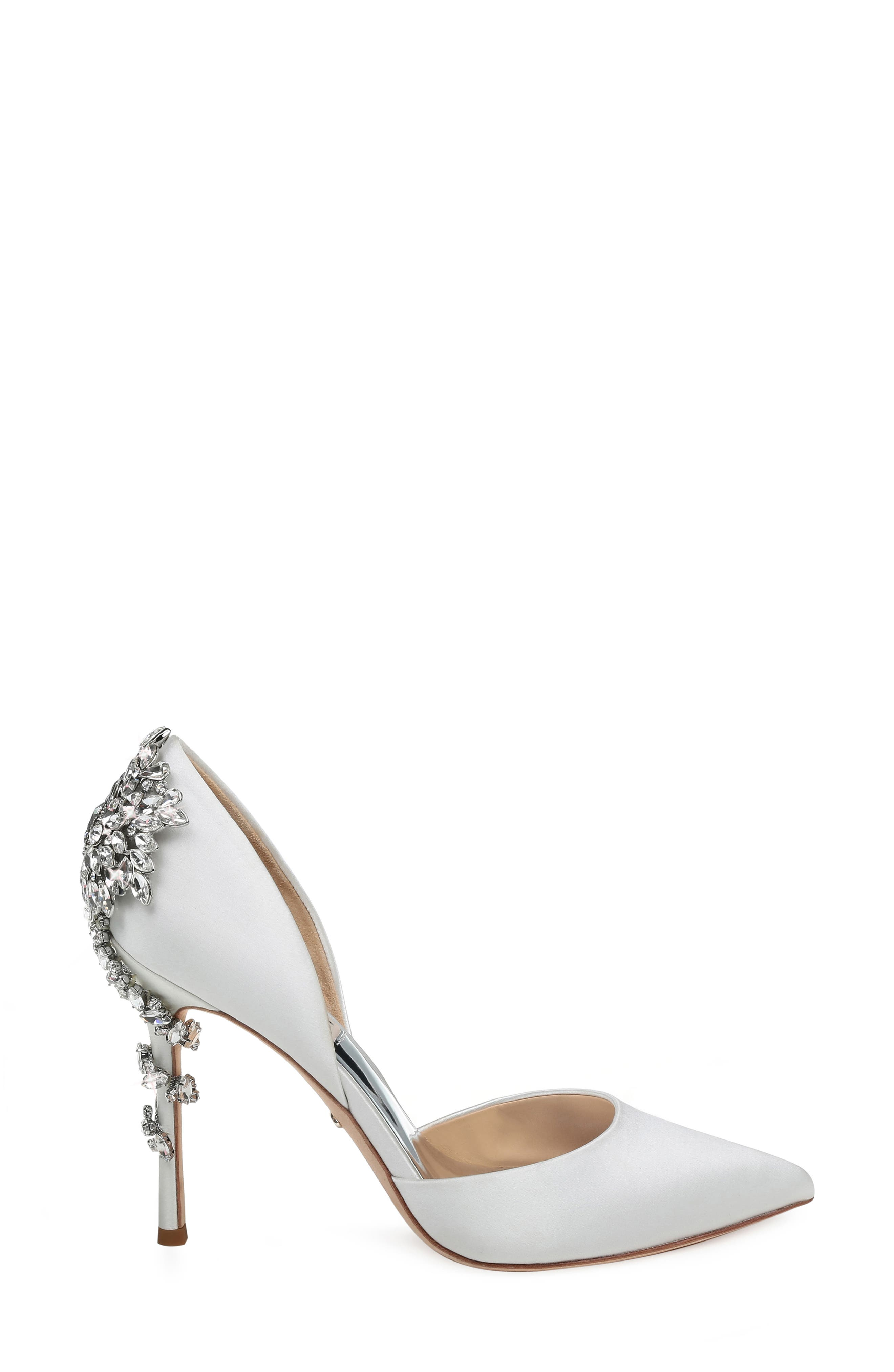 BADGLEY MISCHKA COLLECTION, Badgley Mischka Vogue Crystal Embellished d'Orsay Pump, Alternate thumbnail 3, color, SOFT WHITE SATIN