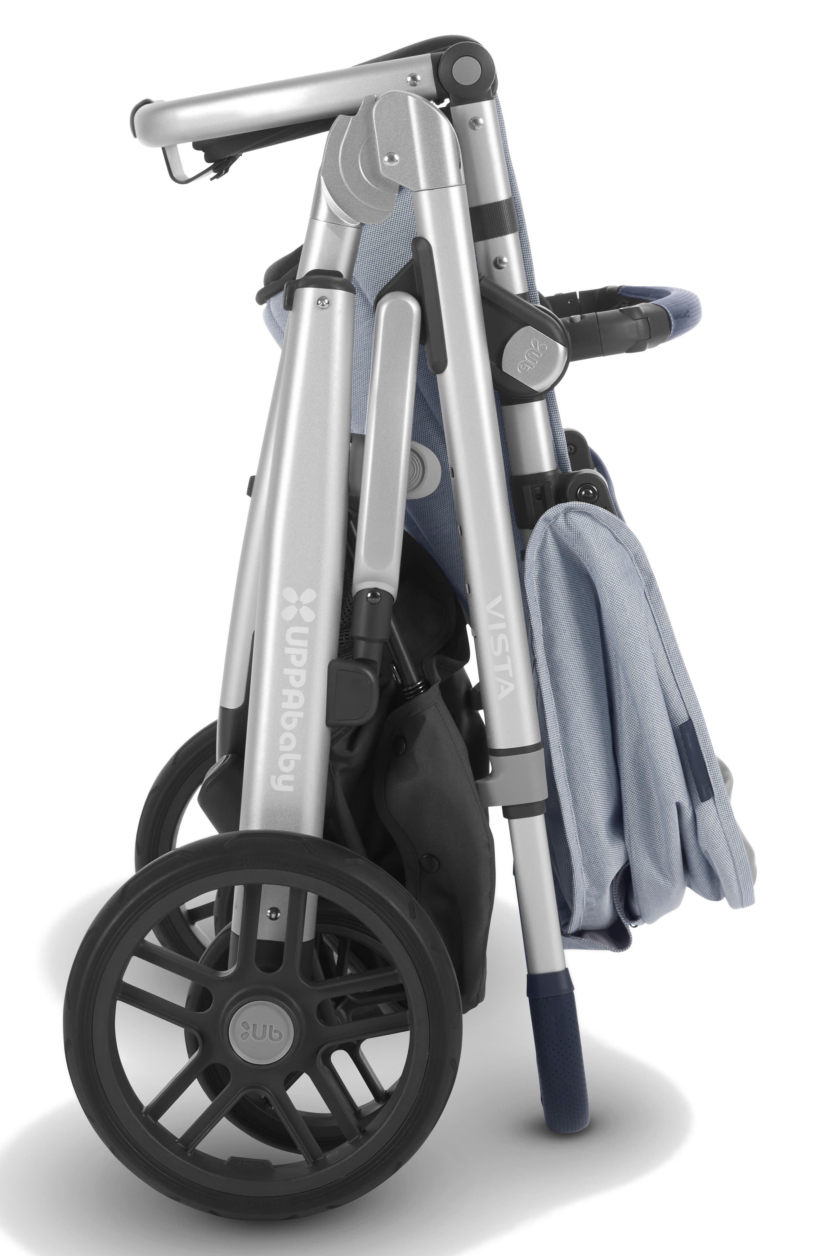 UPPABABY, VISTA Aluminum Frame Convertible Complete Stroller with Leather Trim, Alternate thumbnail 4, color, WILLIAM BLUE/ SILVER