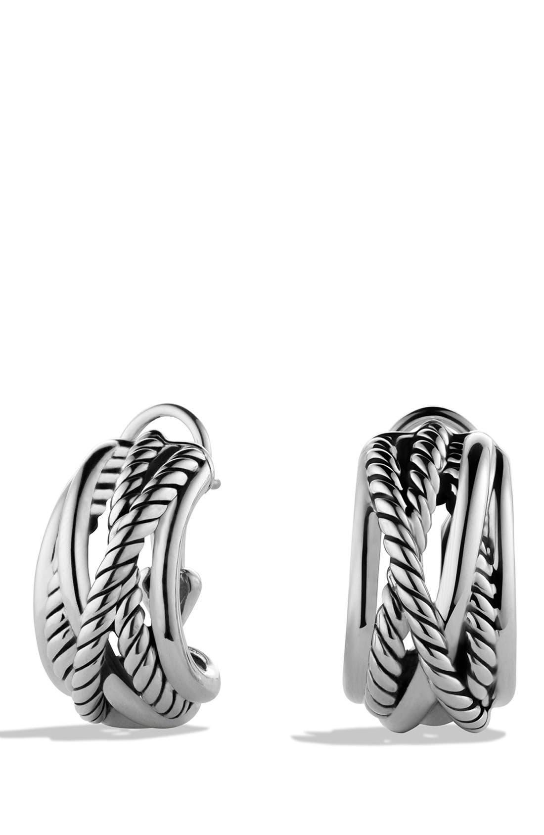 DAVID YURMAN 'Crossover' Earrings, Main, color, SILVER