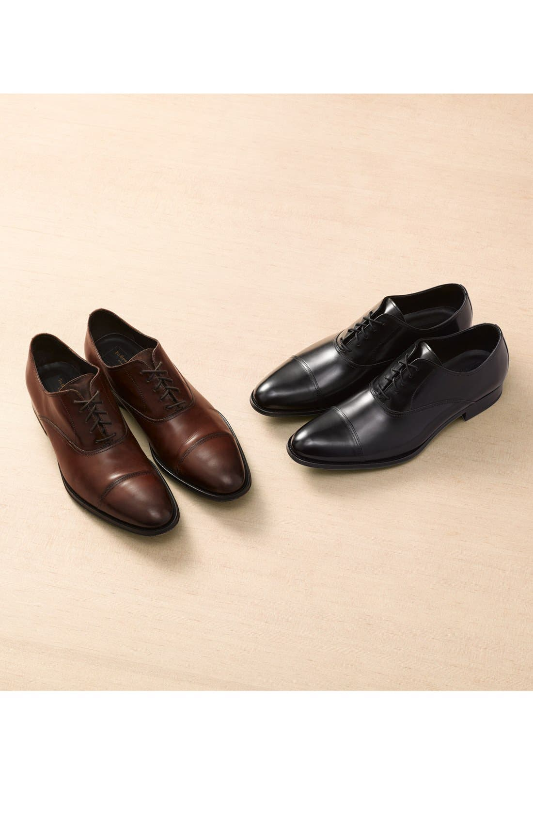 TO BOOT NEW YORK, Brandon Cap Toe Oxford, Alternate thumbnail 6, color, BLACK LEATHER