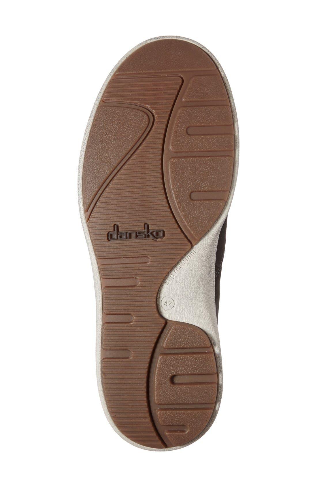 DANSKO, 'Viktor' Water Resistant Slip-On Sneaker, Alternate thumbnail 4, color, BLACK MILLED NUBUCK LEATHER