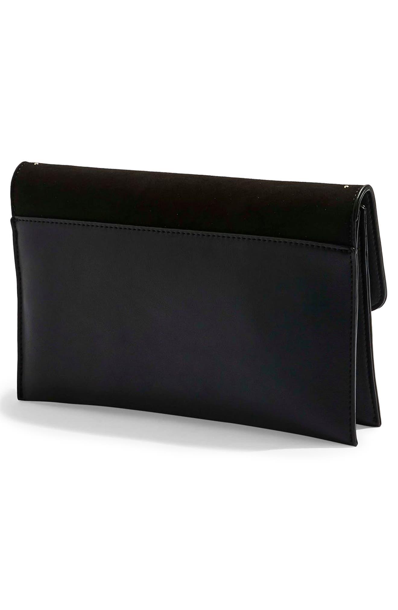 TOPSHOP, Candice Studded Faux Leather Clutch, Alternate thumbnail 4, color, BLACK