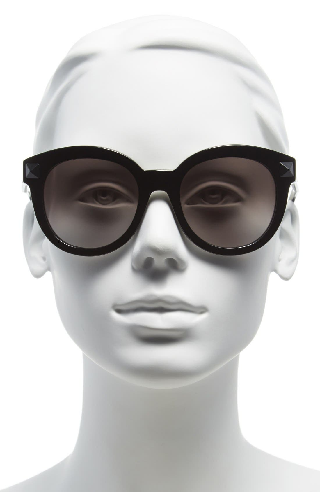 VALENTINO, 'Rockstud' 54mm Semi Oval Cat Eye Sunglasses, Alternate thumbnail 2, color, 015