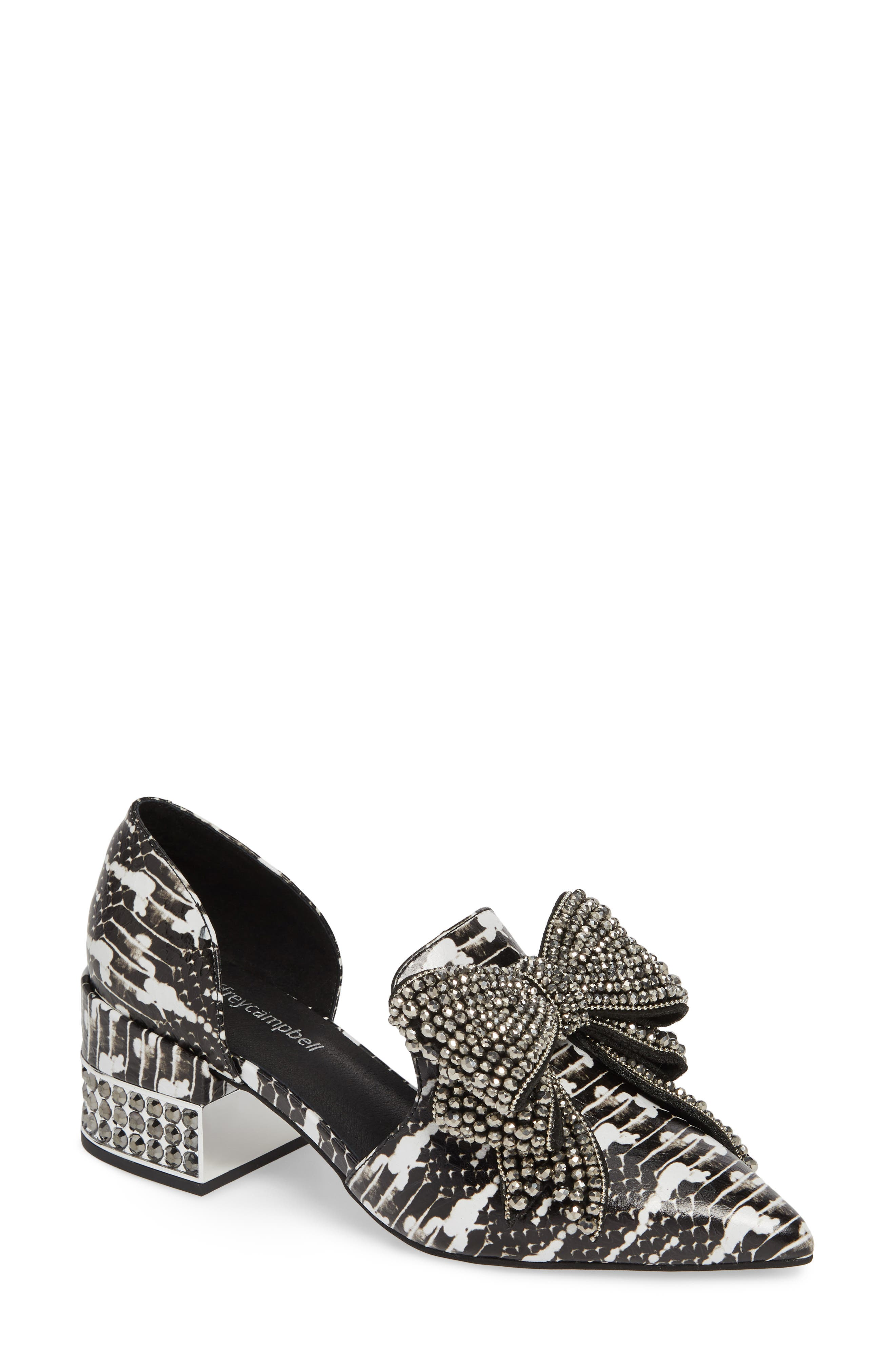 JEFFREY CAMPBELL, Valenti Embellished Bow Loafer, Main thumbnail 1, color, BLACK/WHITE/PEWTER