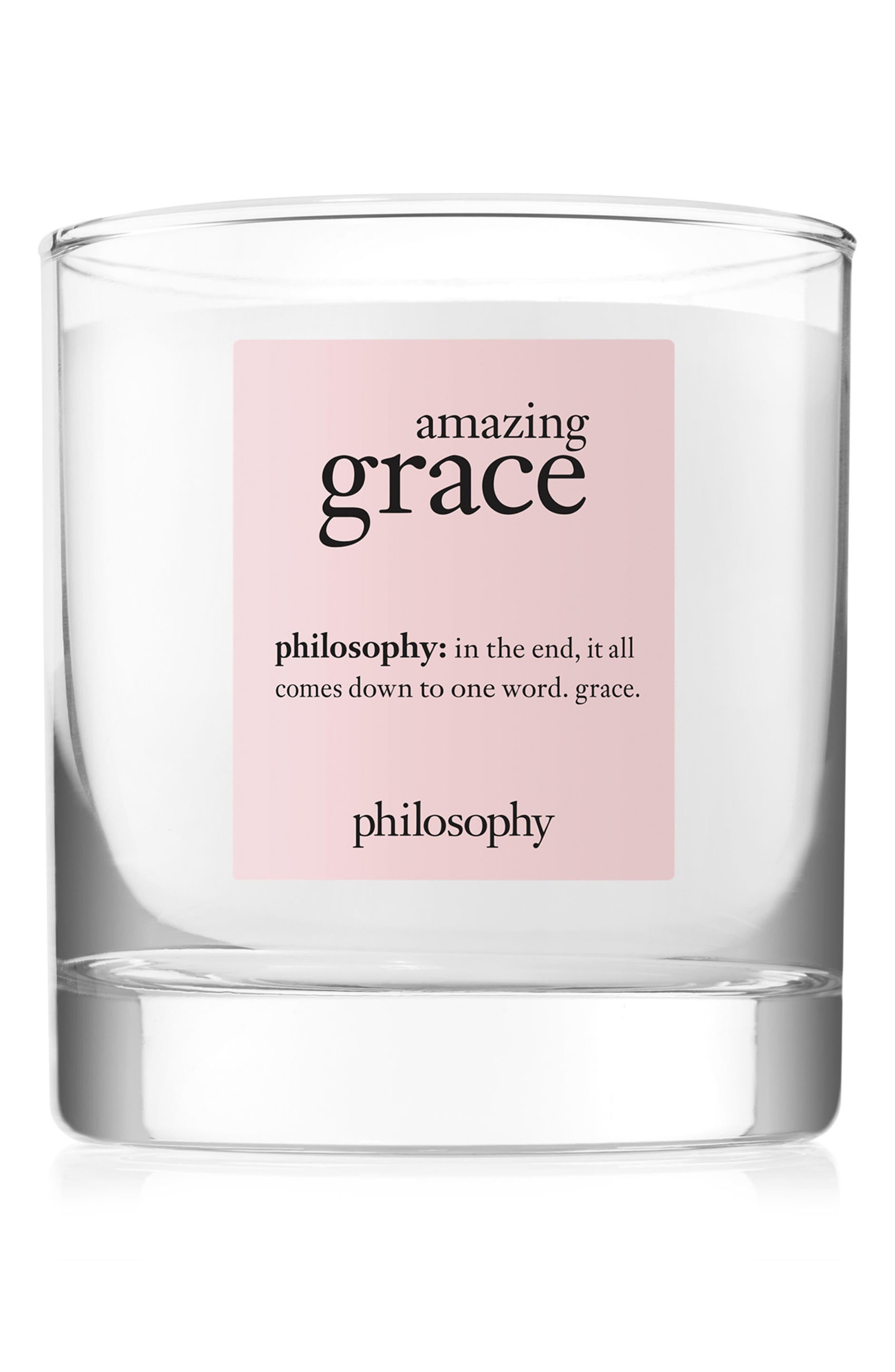 PHILOSOPHY, amazing grace medium candle, Main thumbnail 1, color, NO COLOR