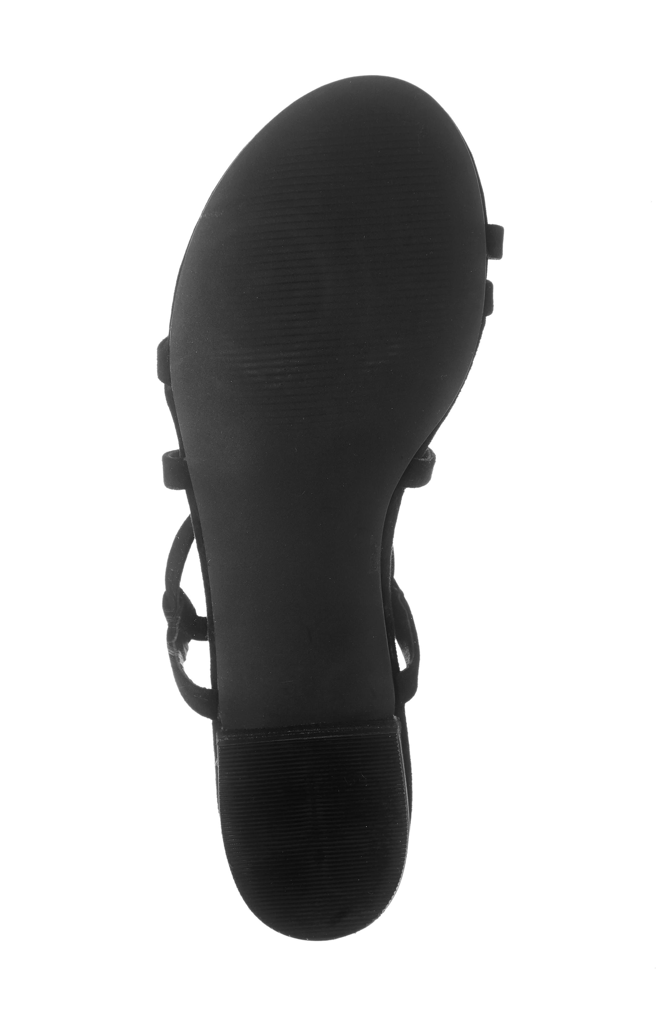 STEVE MADDEN, Adrenaline Lace-Up Sandal, Alternate thumbnail 6, color, BLACK SUEDE