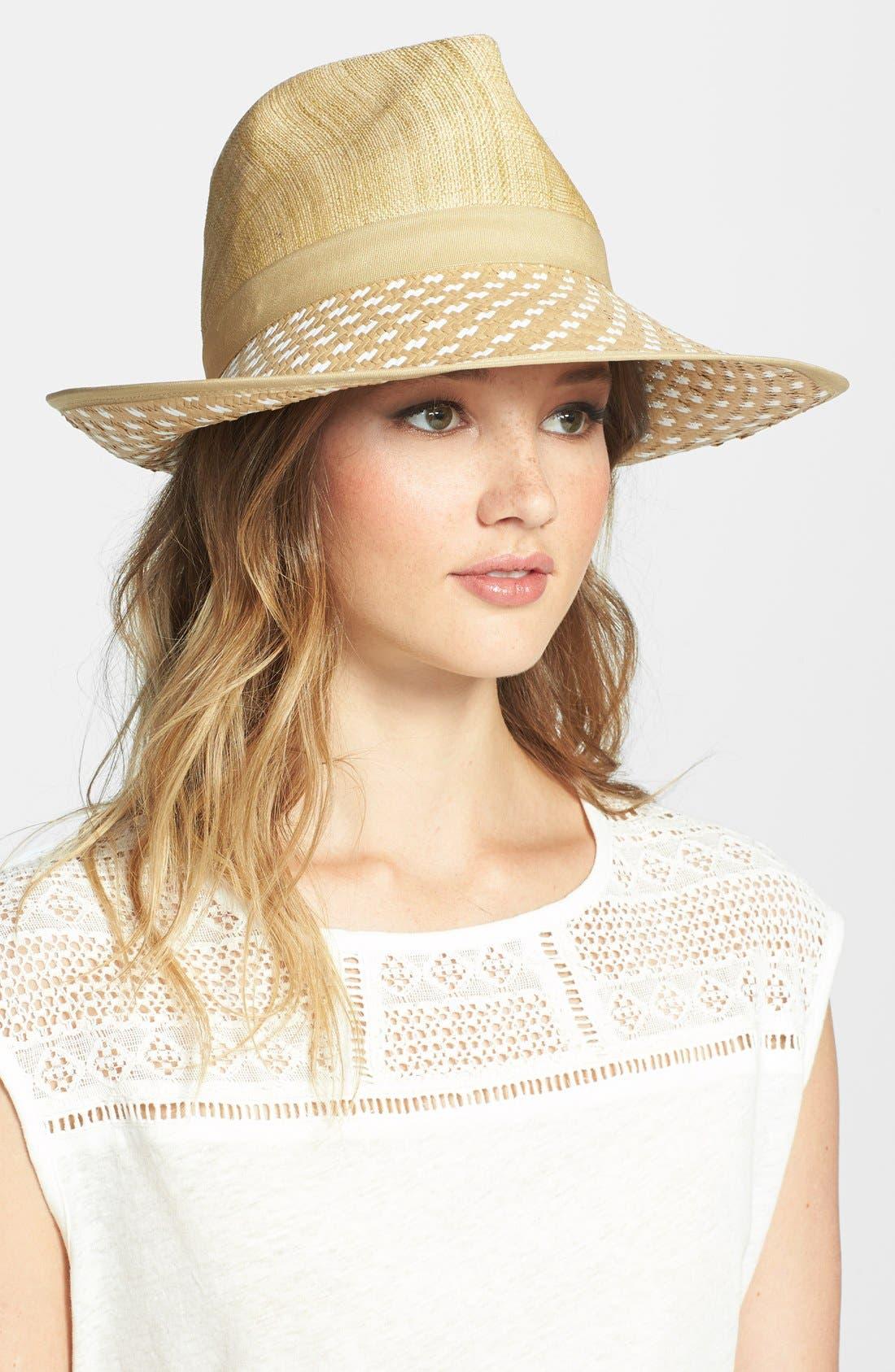 BCBG AXAZRIA Geo Woven Panama Hat, Main, color, 265