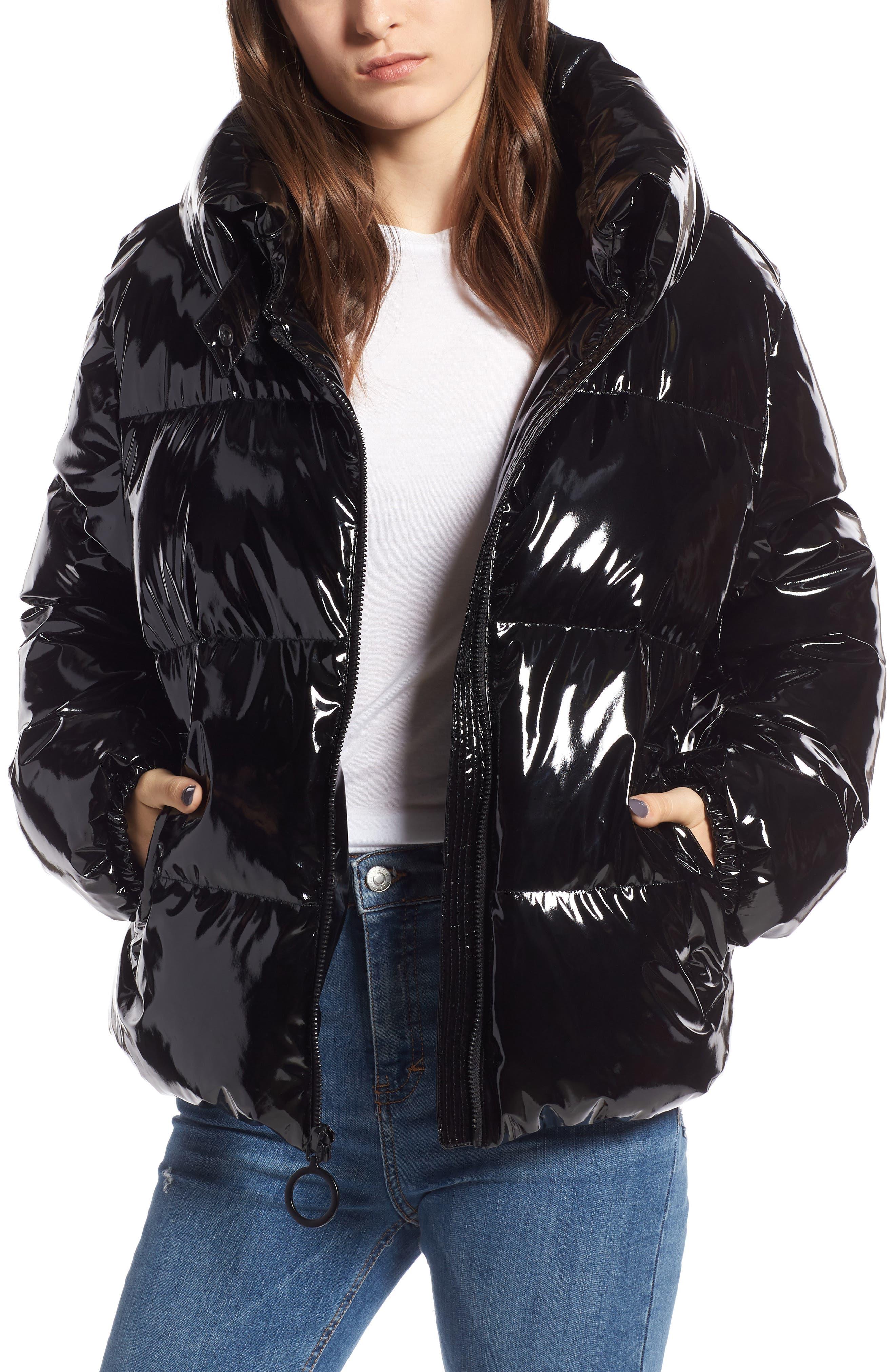 KENDALL + KYLIE, Vinyl Puffer Jacket, Main thumbnail 1, color, BLACK