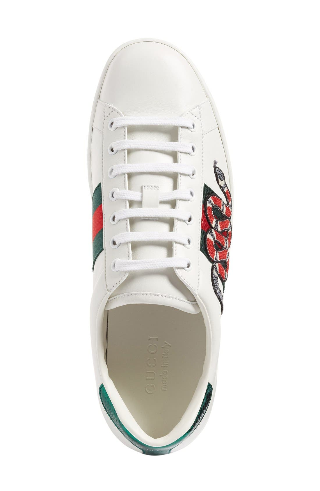 GUCCI, 'New Ace' Sneaker, Alternate thumbnail 2, color, BIANCO LEATHER