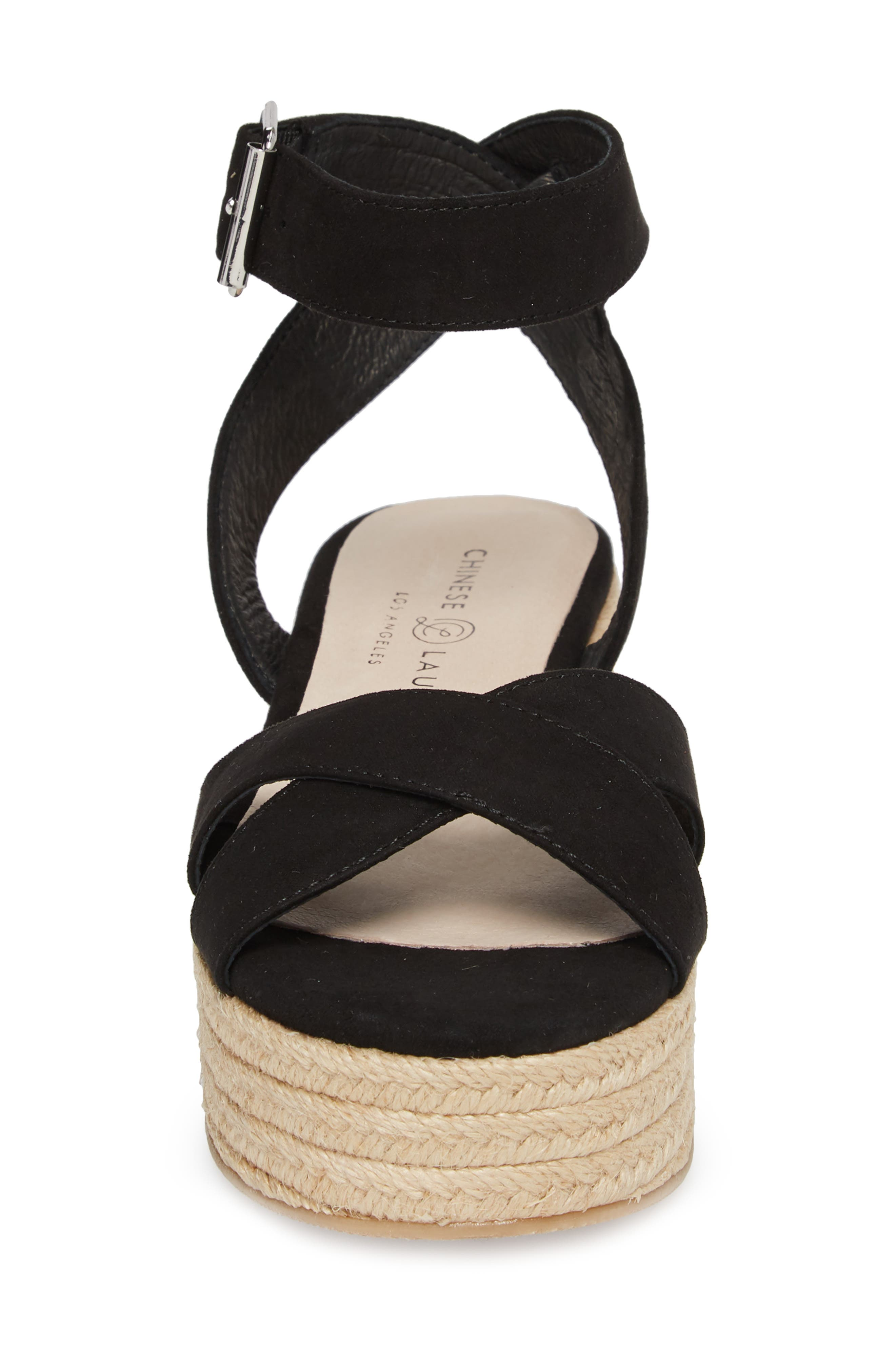 CHINESE LAUNDRY, Zala Espadrille Platform Sandal, Alternate thumbnail 4, color, BLACK