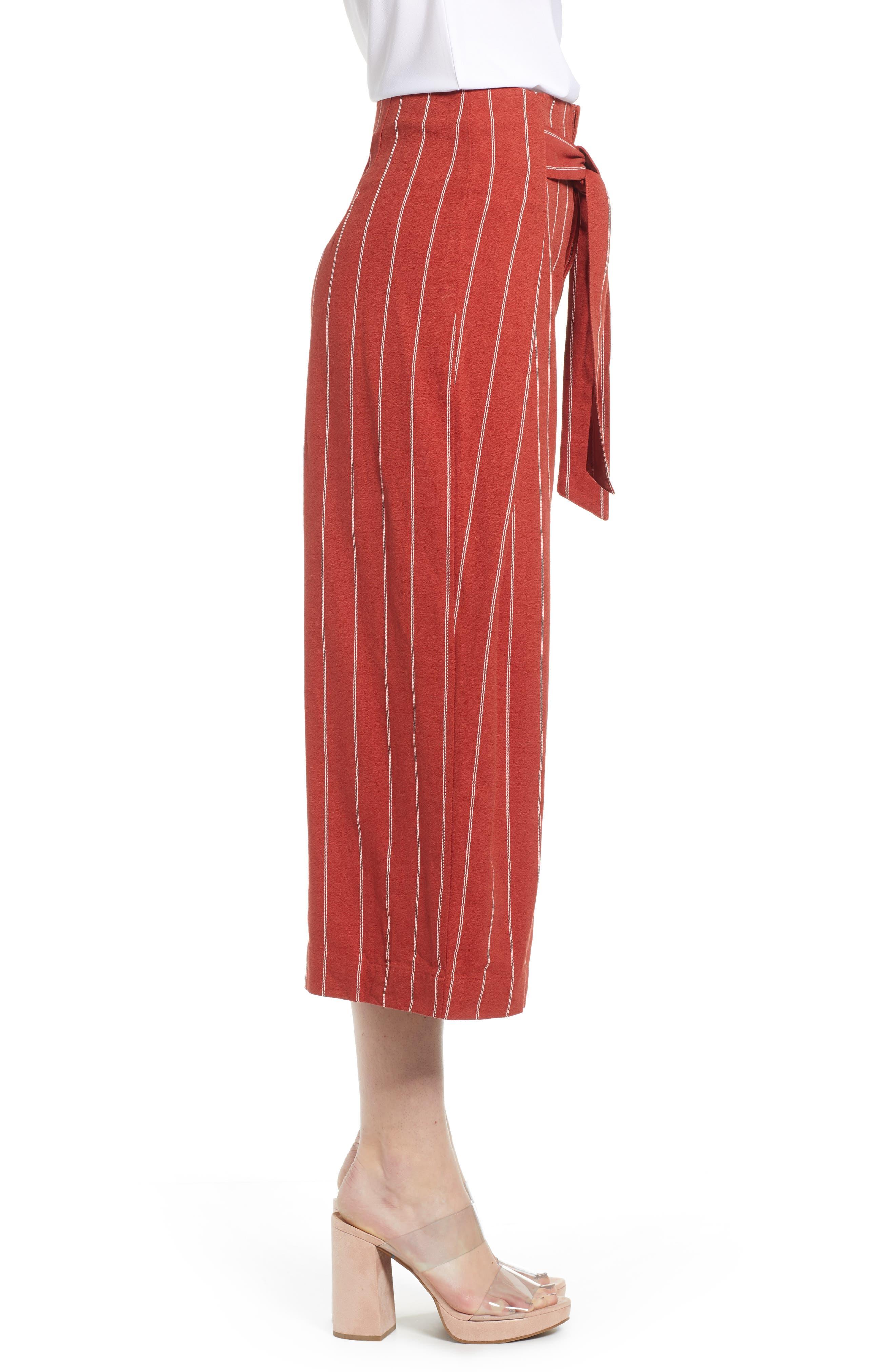 J.O.A., Wide Leg Linen & Cotton Pants, Alternate thumbnail 4, color, BRICK STRIPE