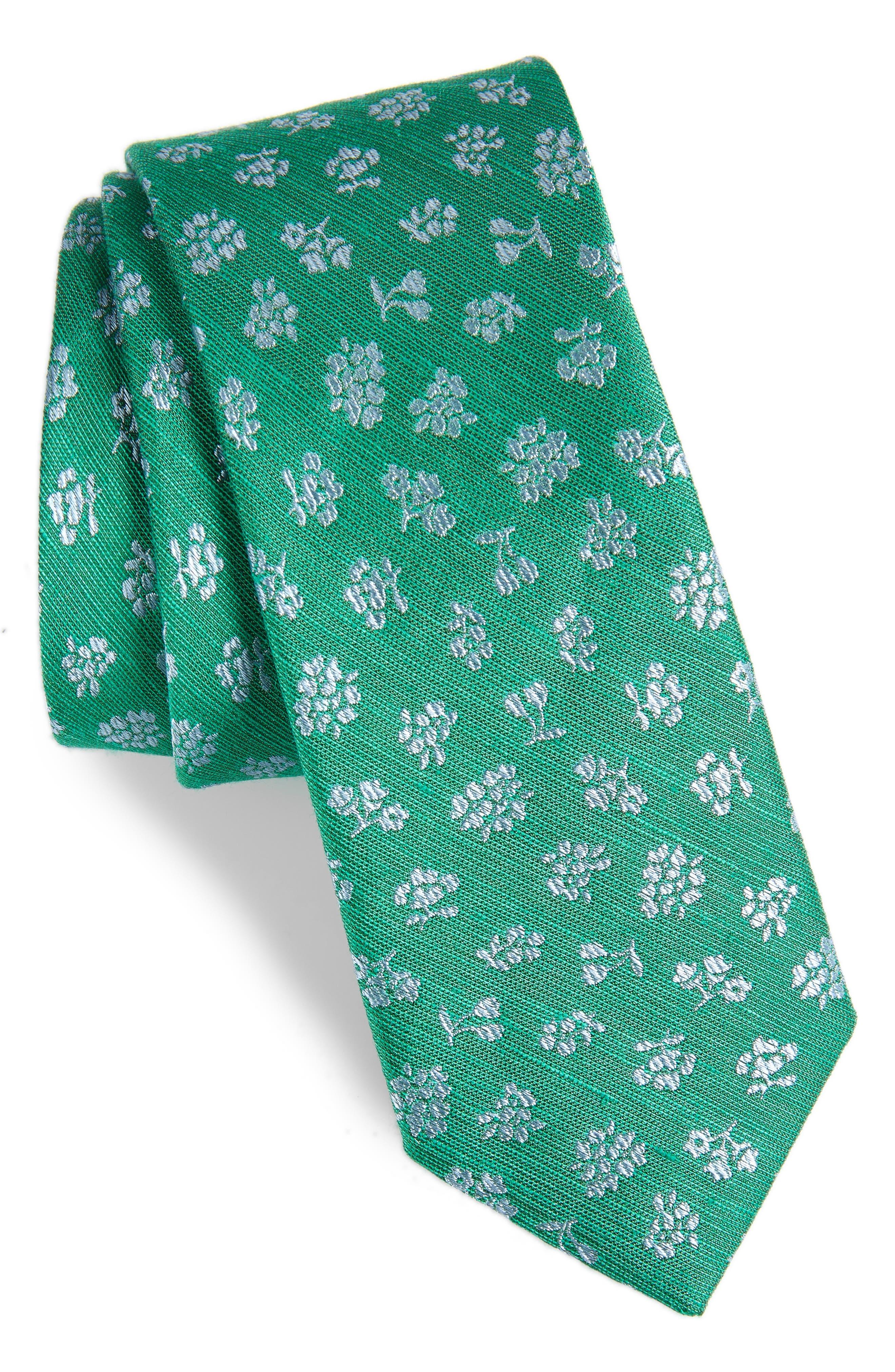 THE TIE BAR Fruta Floral Silk & Linen Tie, Main, color, GREEN