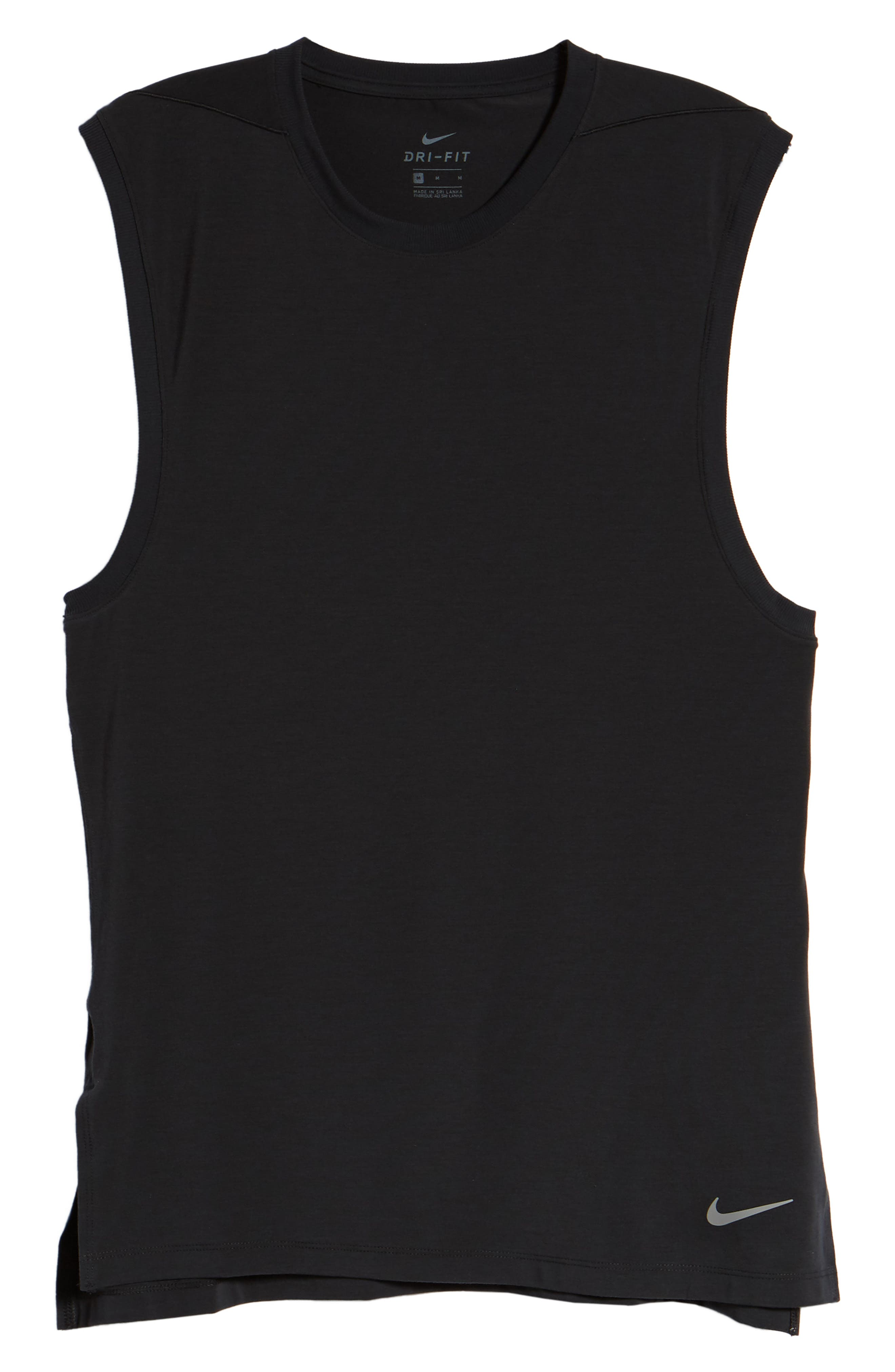 NIKE, Dry Transcent Sleeveless T-Shirt, Alternate thumbnail 6, color, BLACK/ DARK GREY