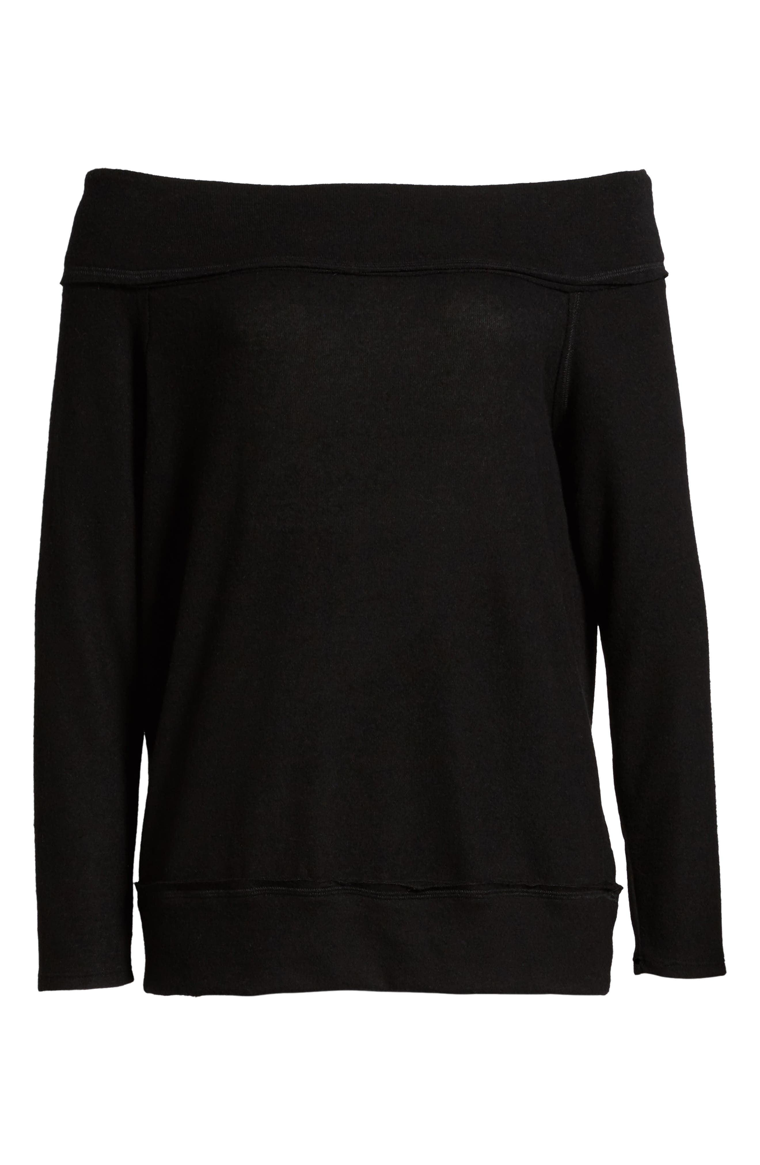 GIBSON, x Living in Yellow Mary Fleece Off the Shoulder Top, Alternate thumbnail 6, color, BLACK