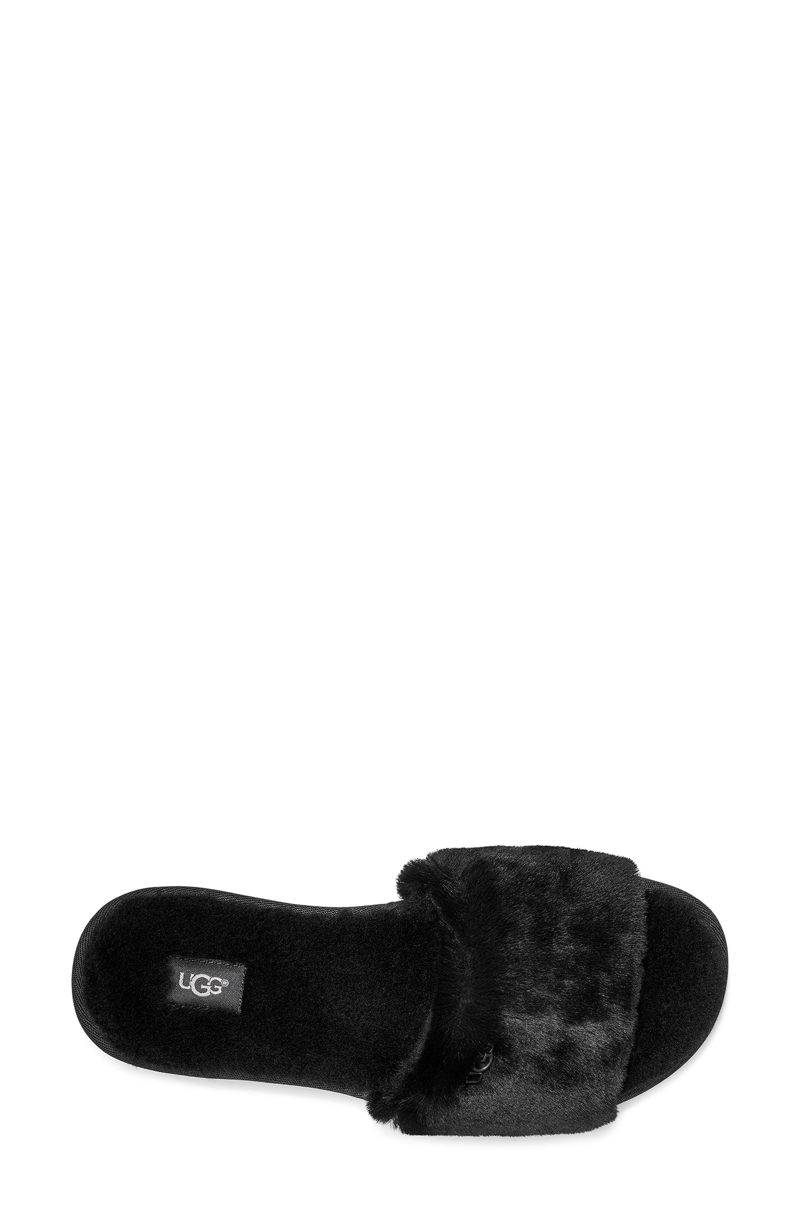UGG<SUP>®</SUP>, Cozette Genuine Shearling Slipper, Alternate thumbnail 4, color, BLACK