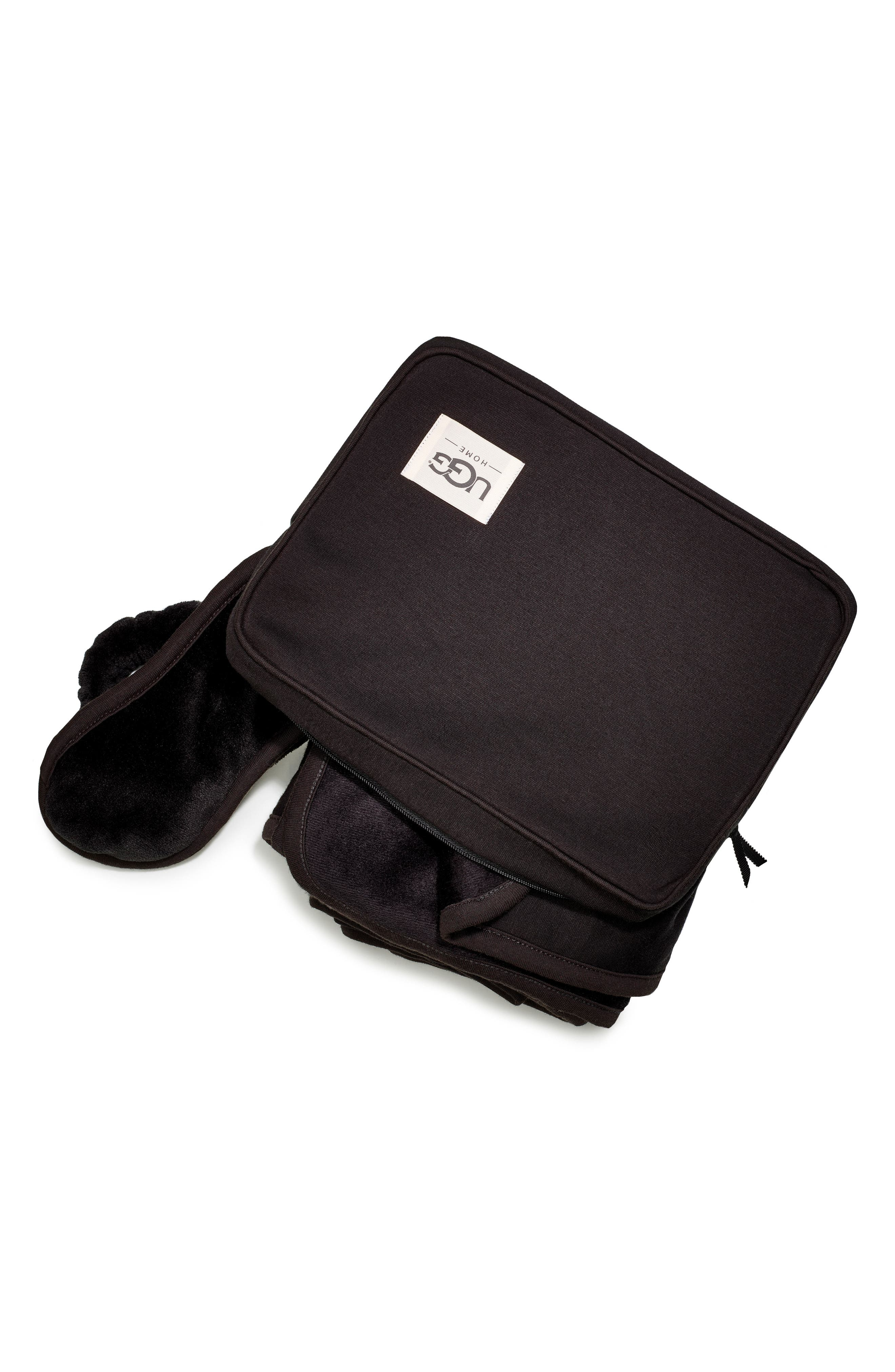 UGG<SUP>®</SUP>, Duffield Eye Mask, Pouch & Blanket Travel Set, Alternate thumbnail 3, color, 001