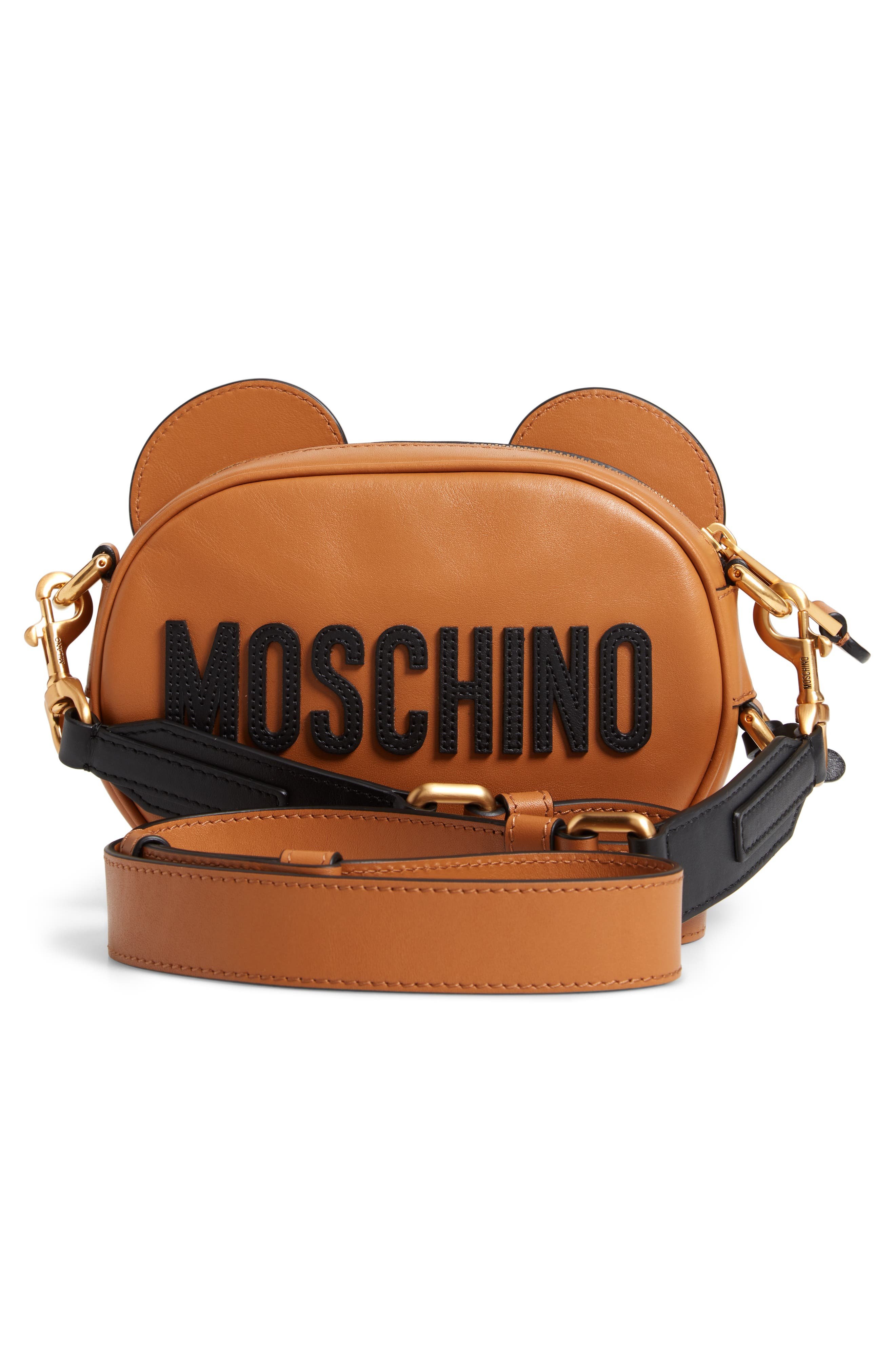 MOSCHINO, Crystal Teddy Leather Crossbody Bag, Alternate thumbnail 3, color, BROWN