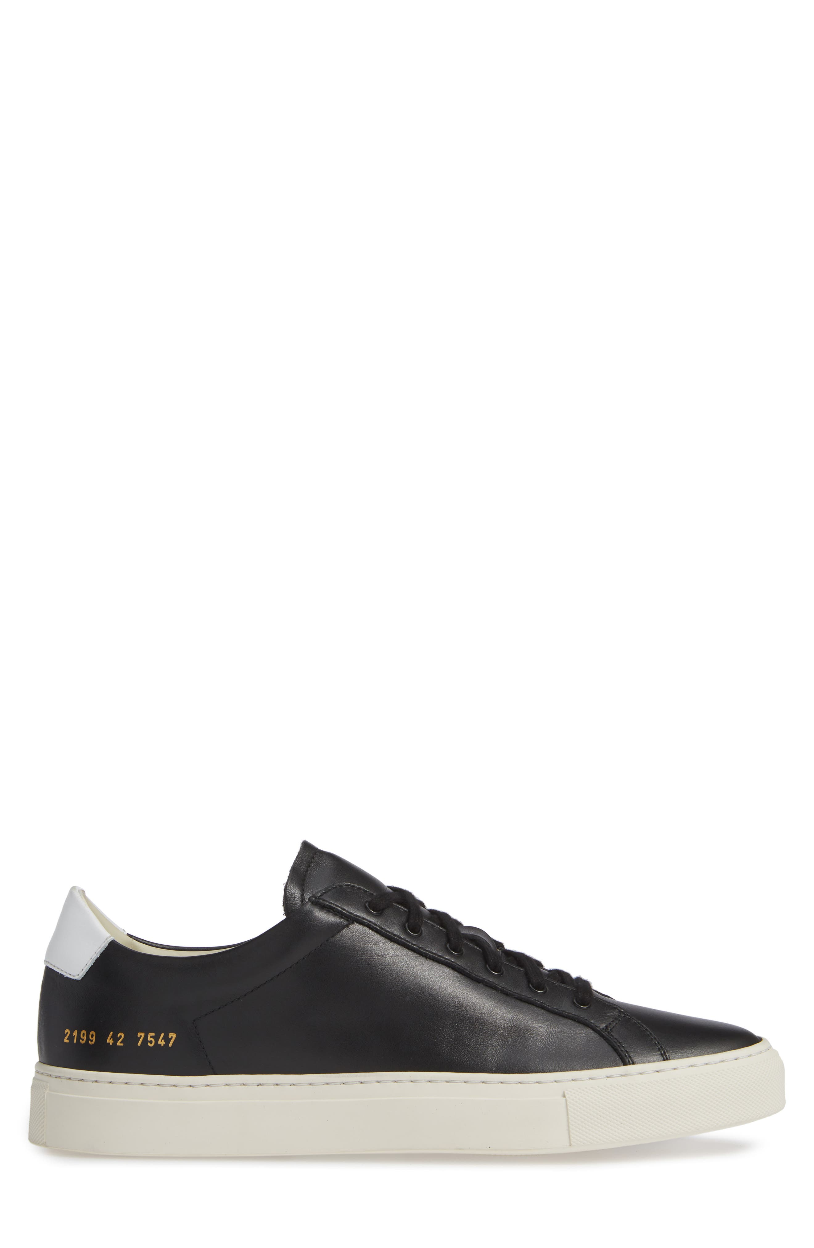 COMMON PROJECTS, Retro Sneaker, Alternate thumbnail 3, color, BLACK