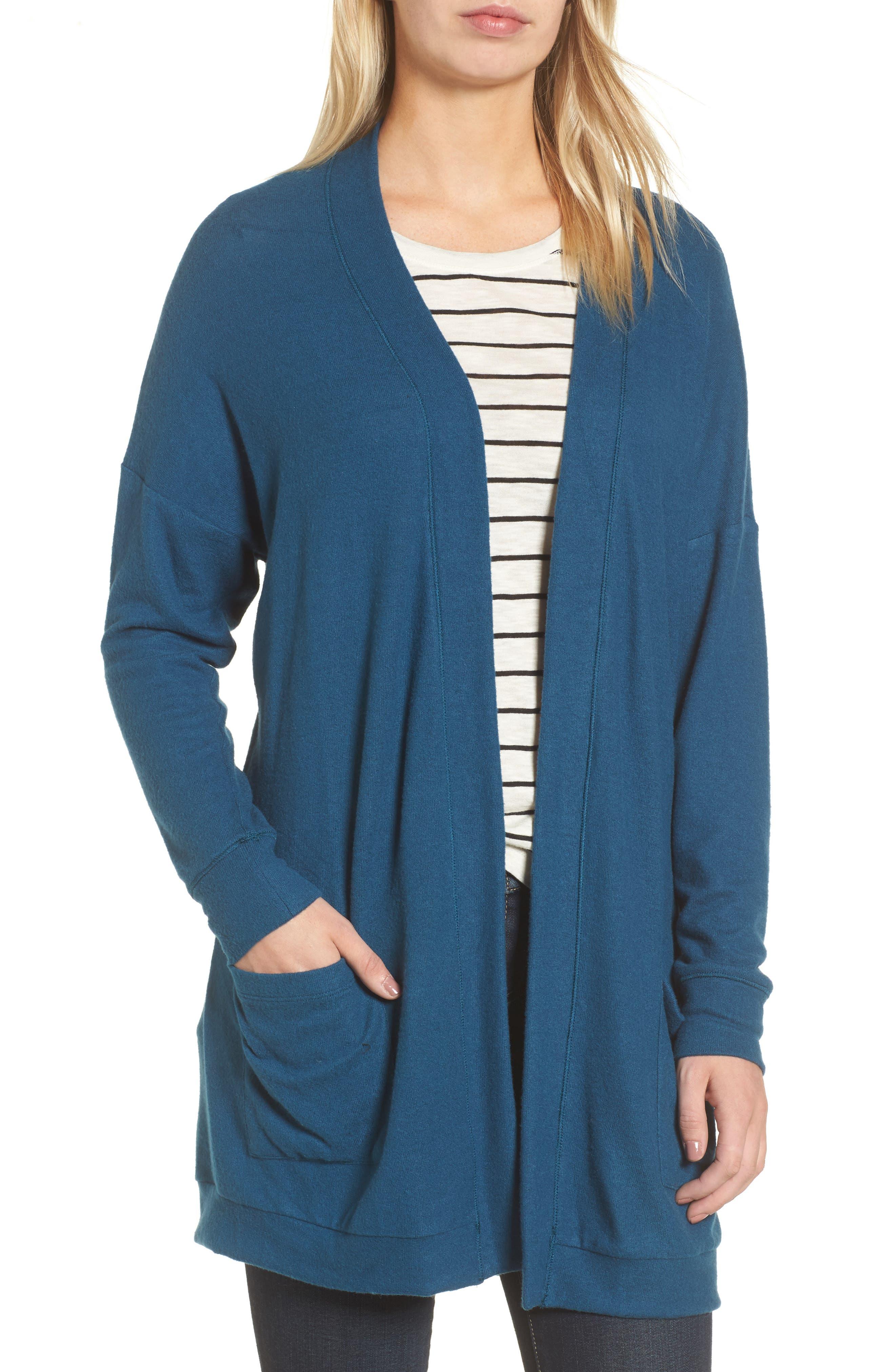 GIBSON Rib Knit Cardigan, Main, color, BLUE CERAMIC